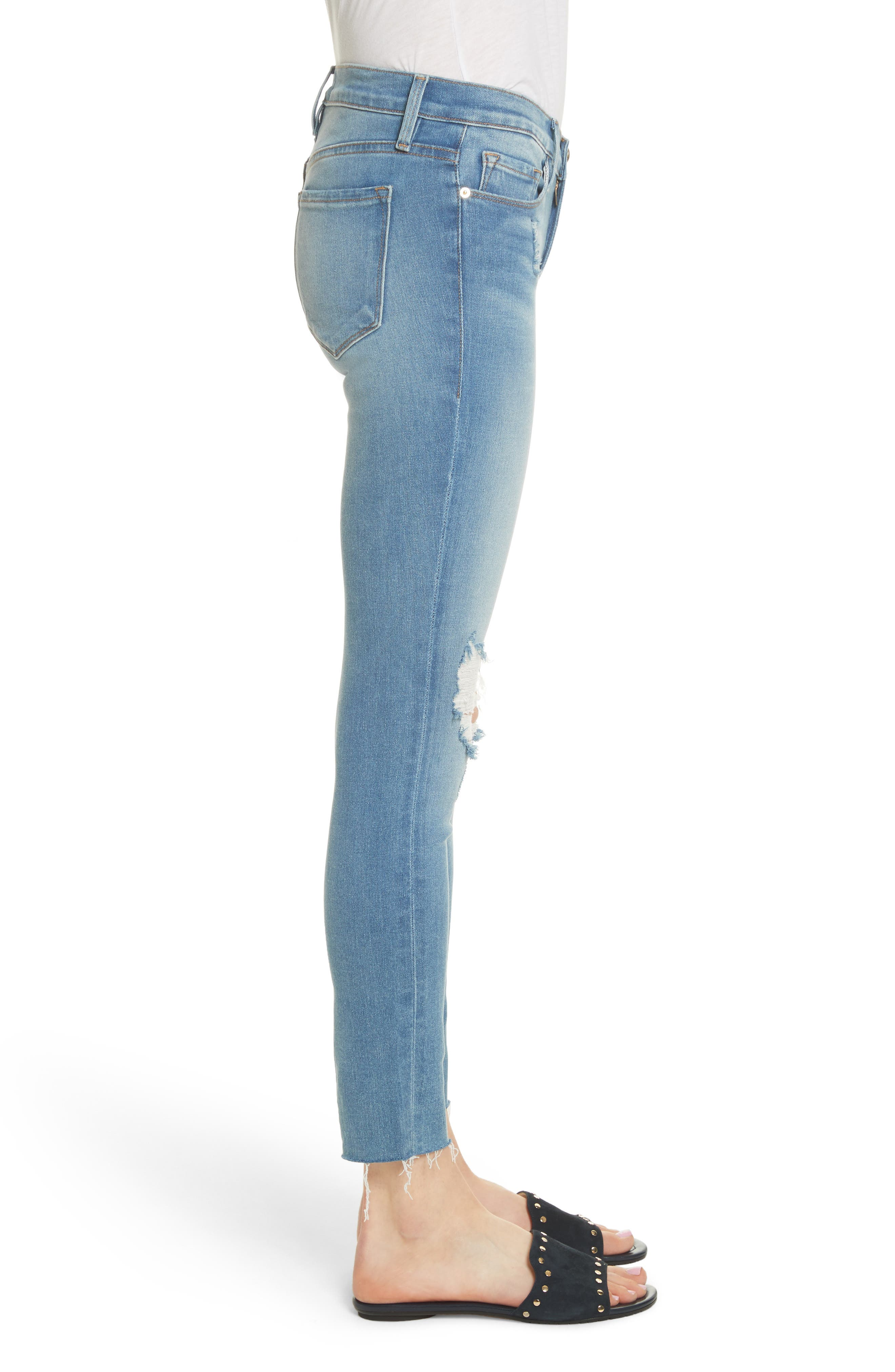 Le Skinny de Jeanne Raw Edge Crop Skinny Jeans,                             Alternate thumbnail 3, color,                             Stanwell