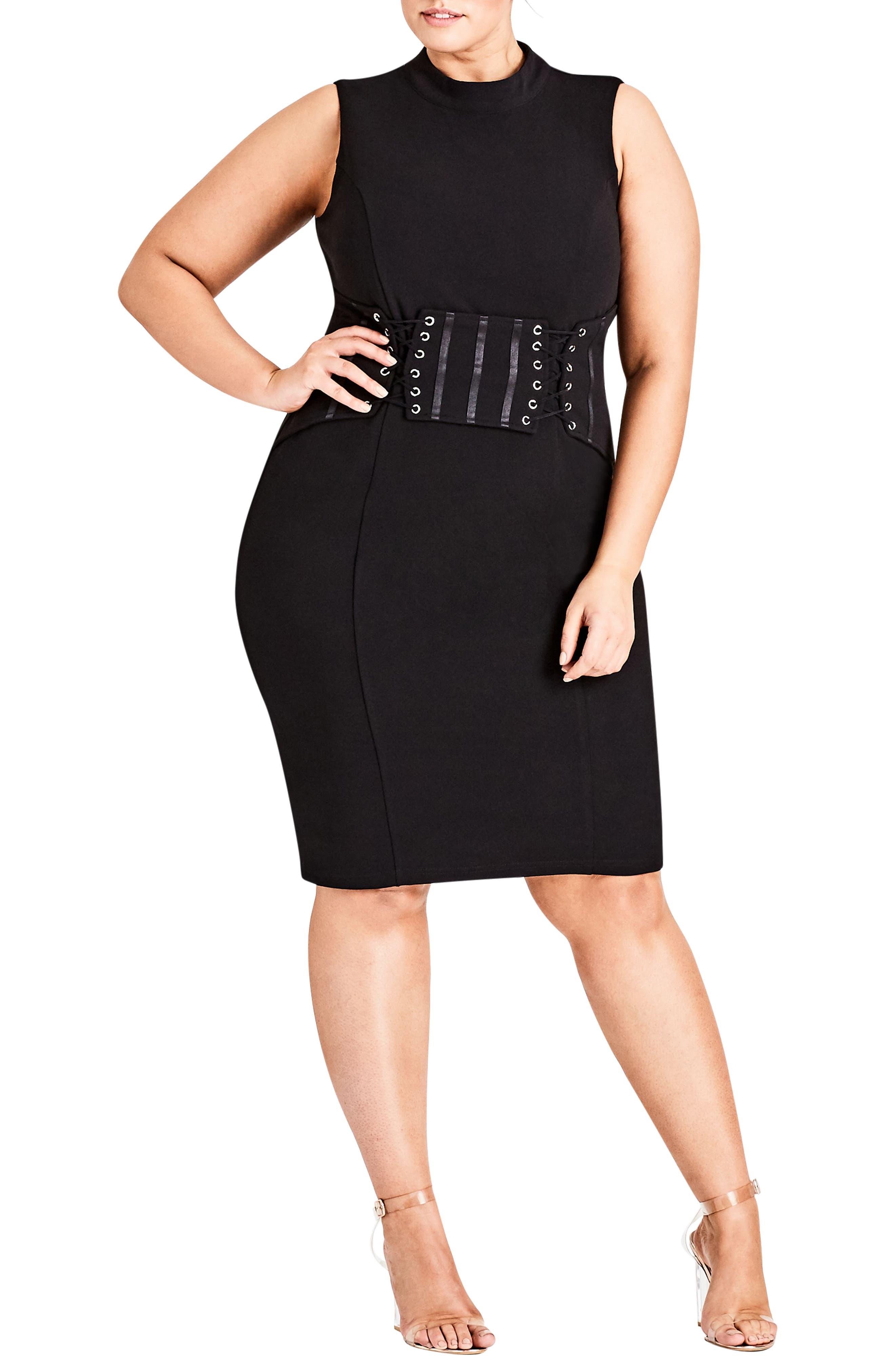 Corset Body-Con Dress,                         Main,                         color, Black