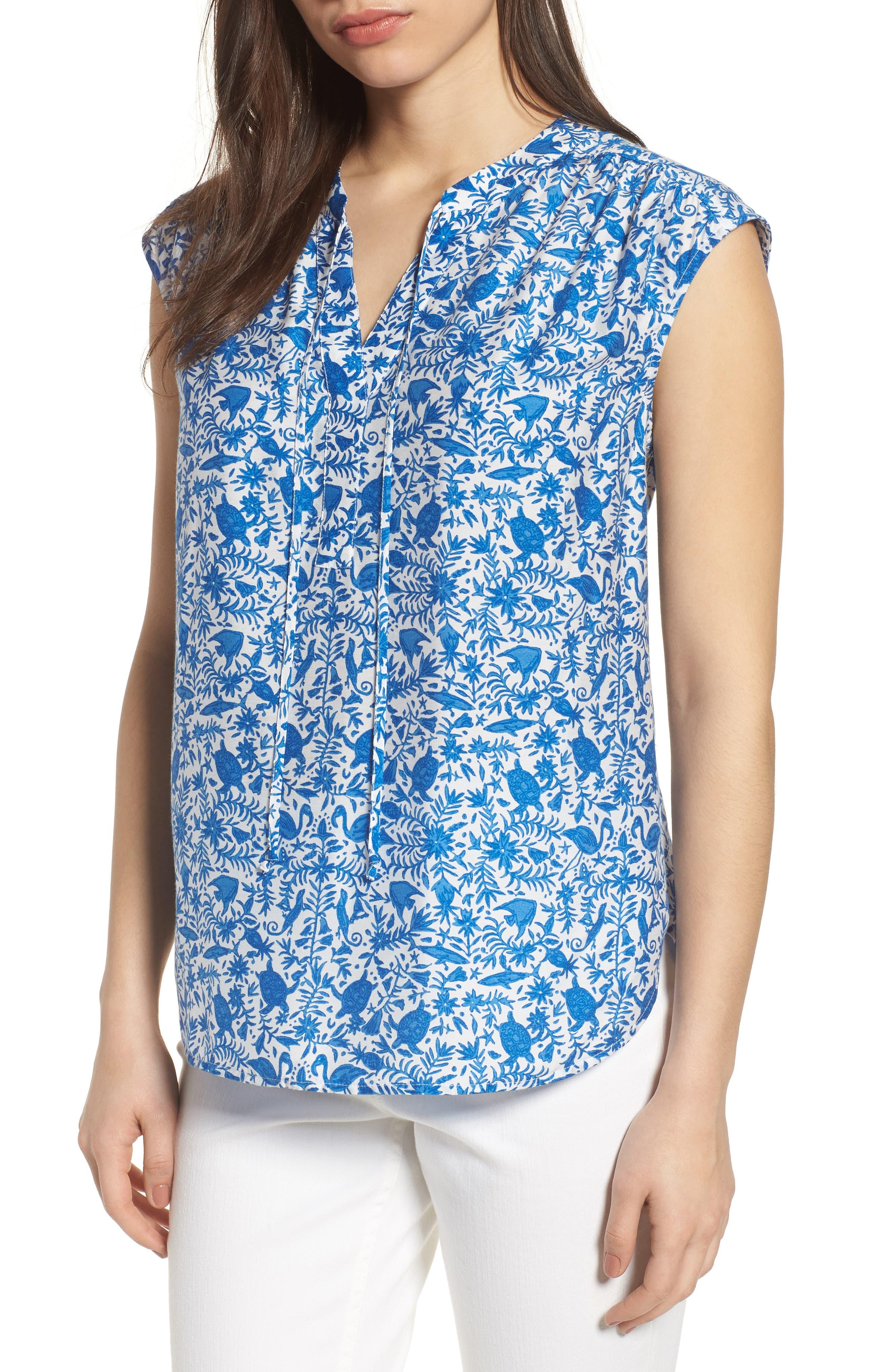 Bahamas Otomi Sleeveless Cotton Top,                         Main,                         color, Yacht Blue