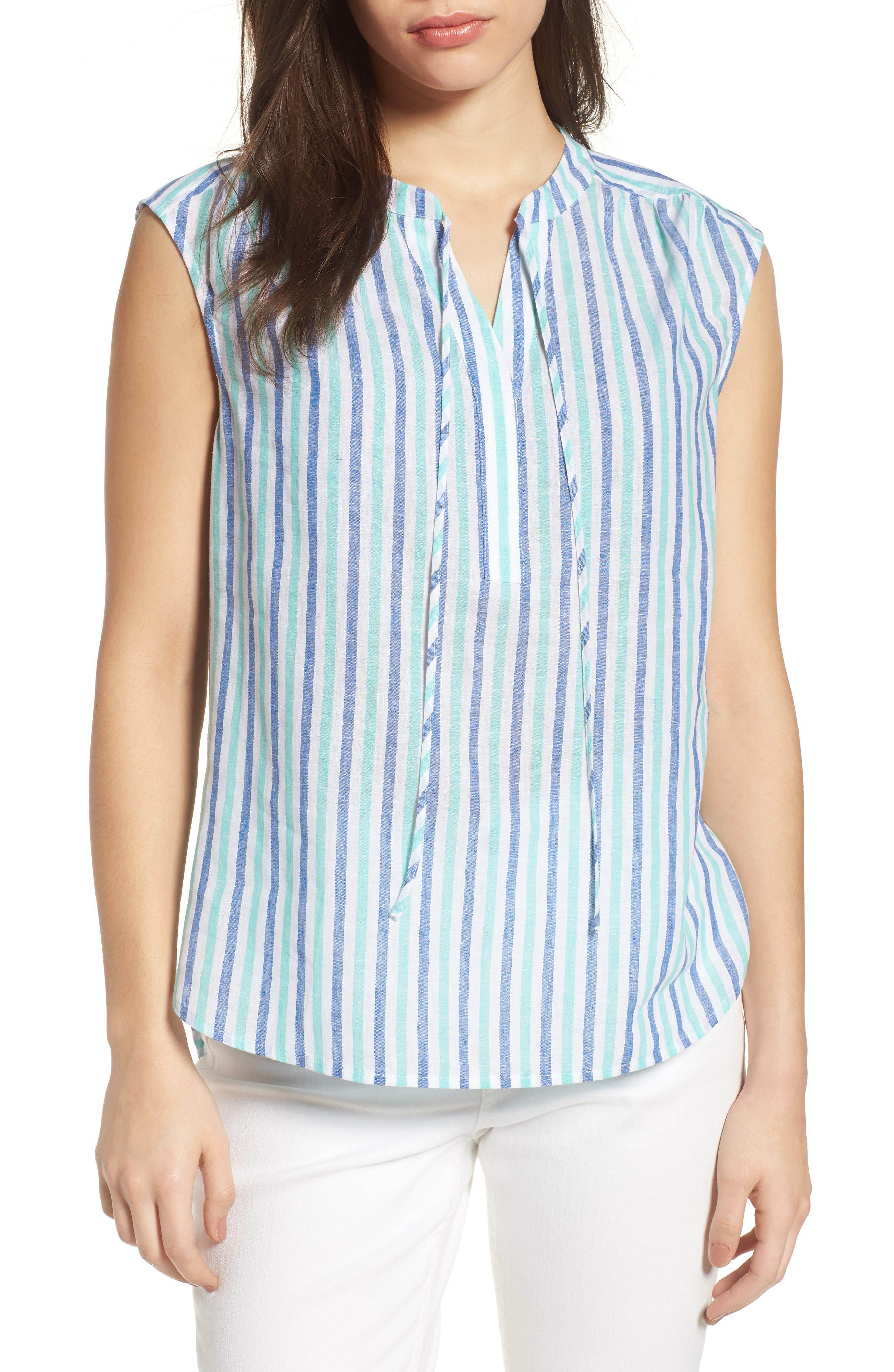 Hope Bay Linen Cotton Stripe Top,                             Main thumbnail 1, color,                             Capri Blue