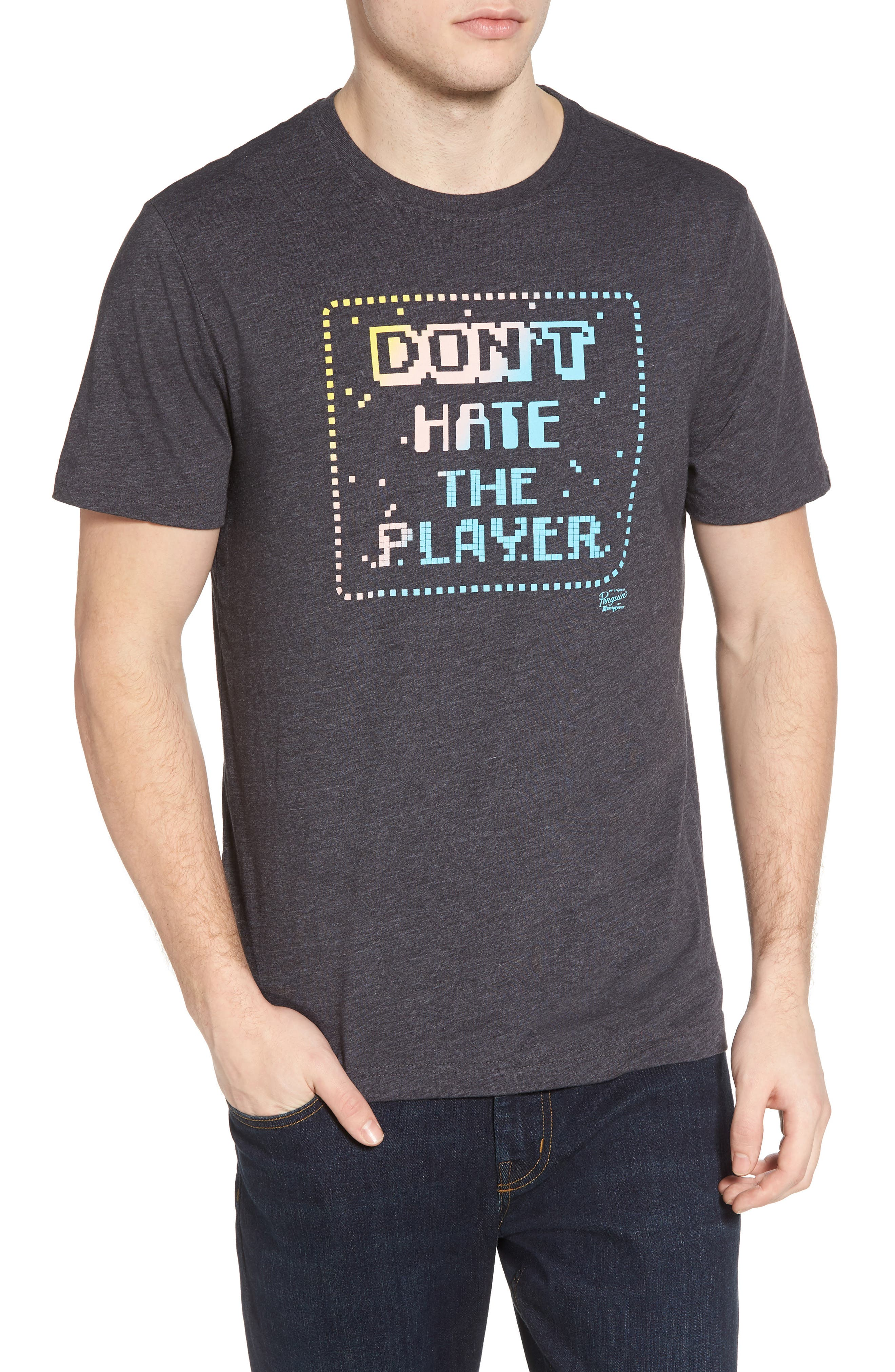 Don't Hate the Player T-Shirt,                             Main thumbnail 1, color,                             Charcoal