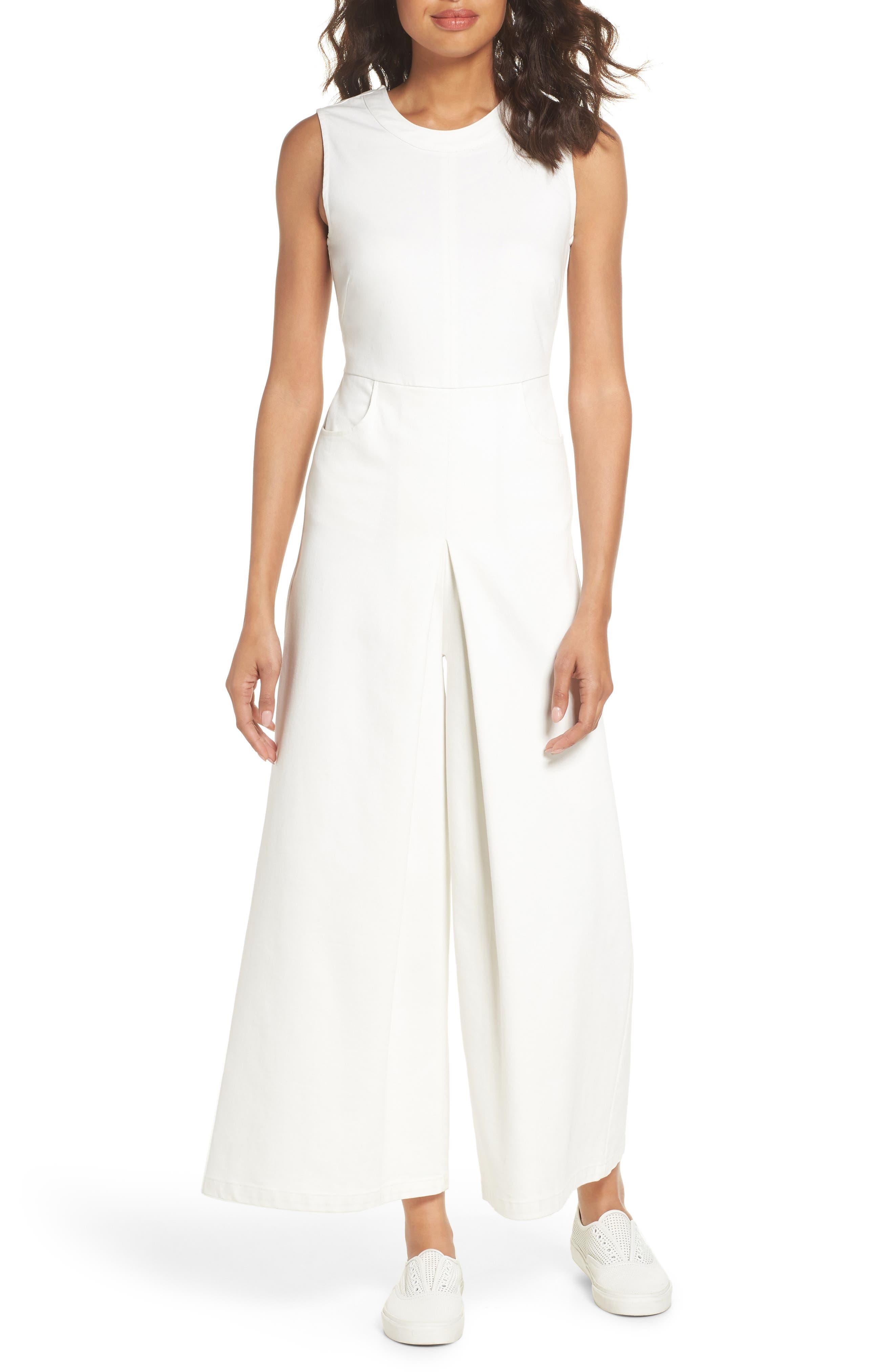 Hampton Crop Denim Jumpsuit,                         Main,                         color, White