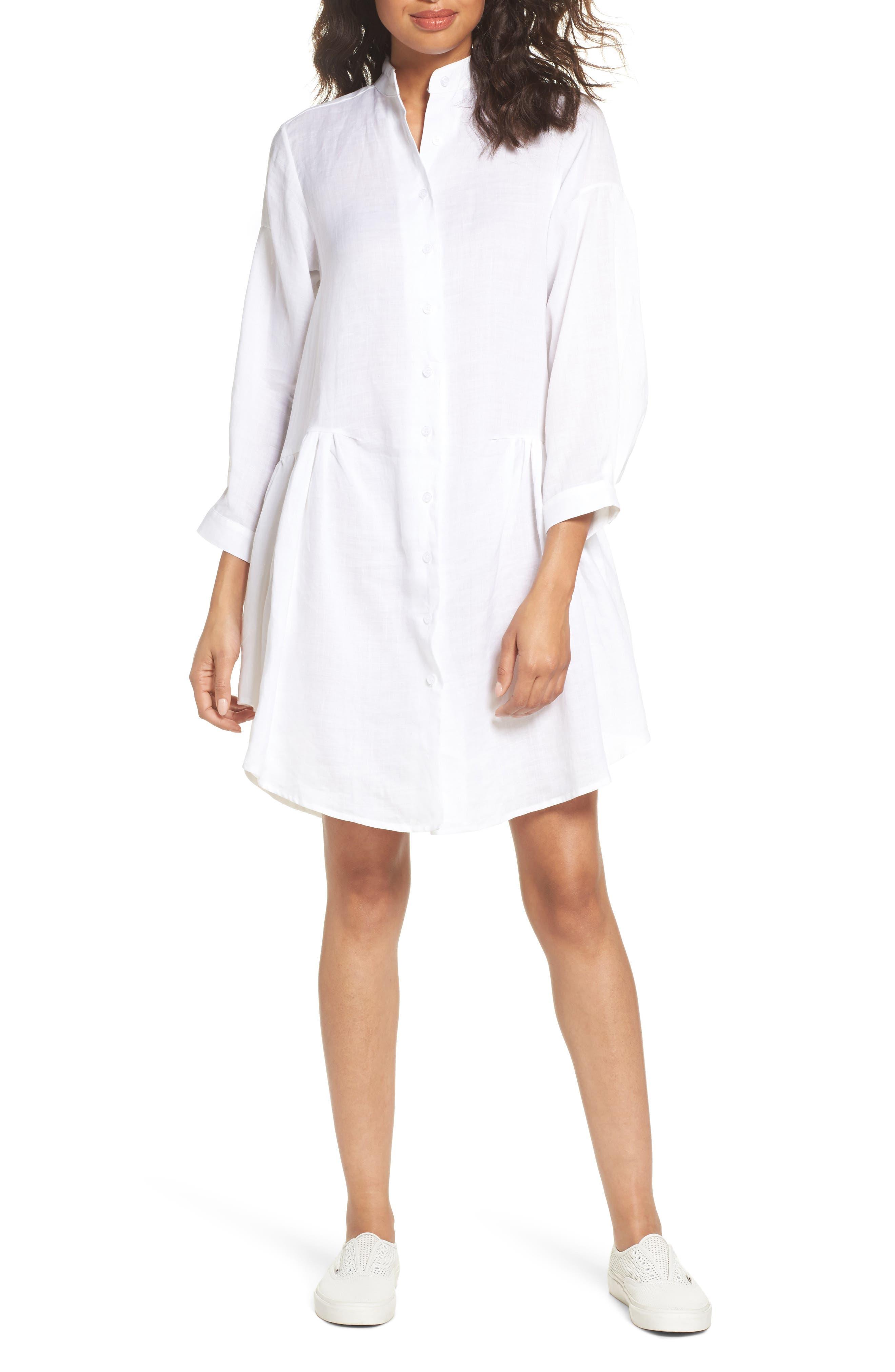 Tria Linen Shirtdress,                         Main,                         color, White