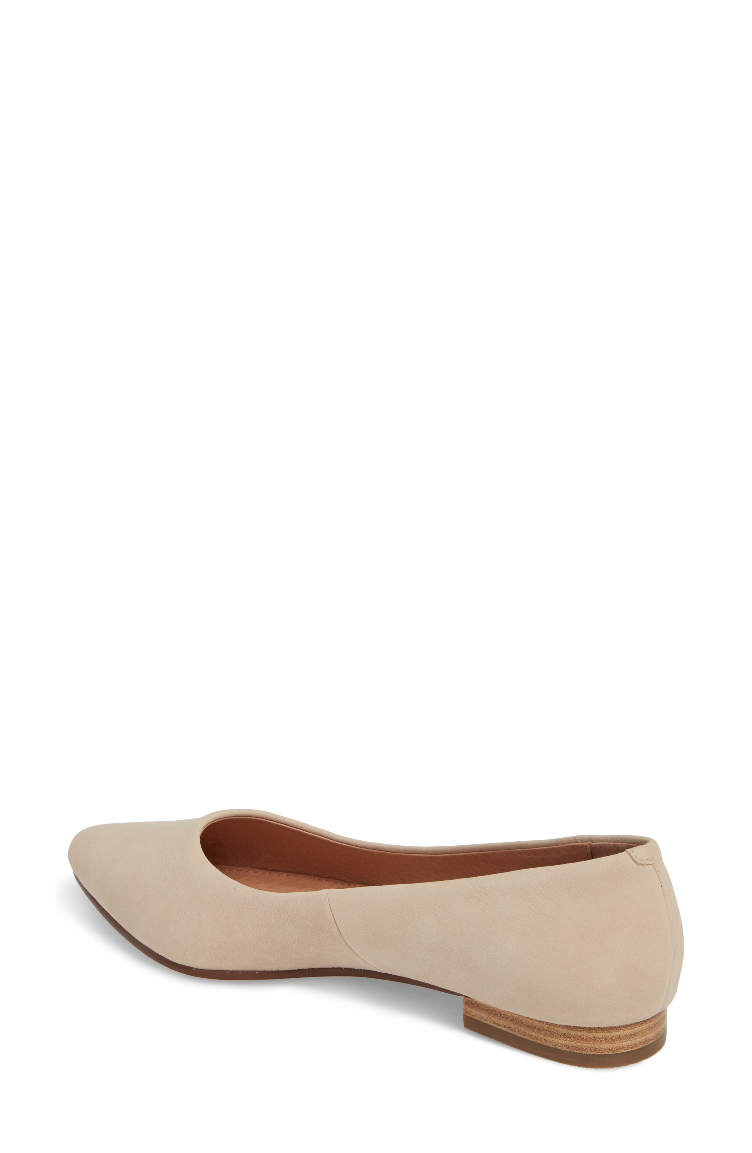 Luna Pointy Toe Flat,                             Alternate thumbnail 2, color,                             Nude Nubuck
