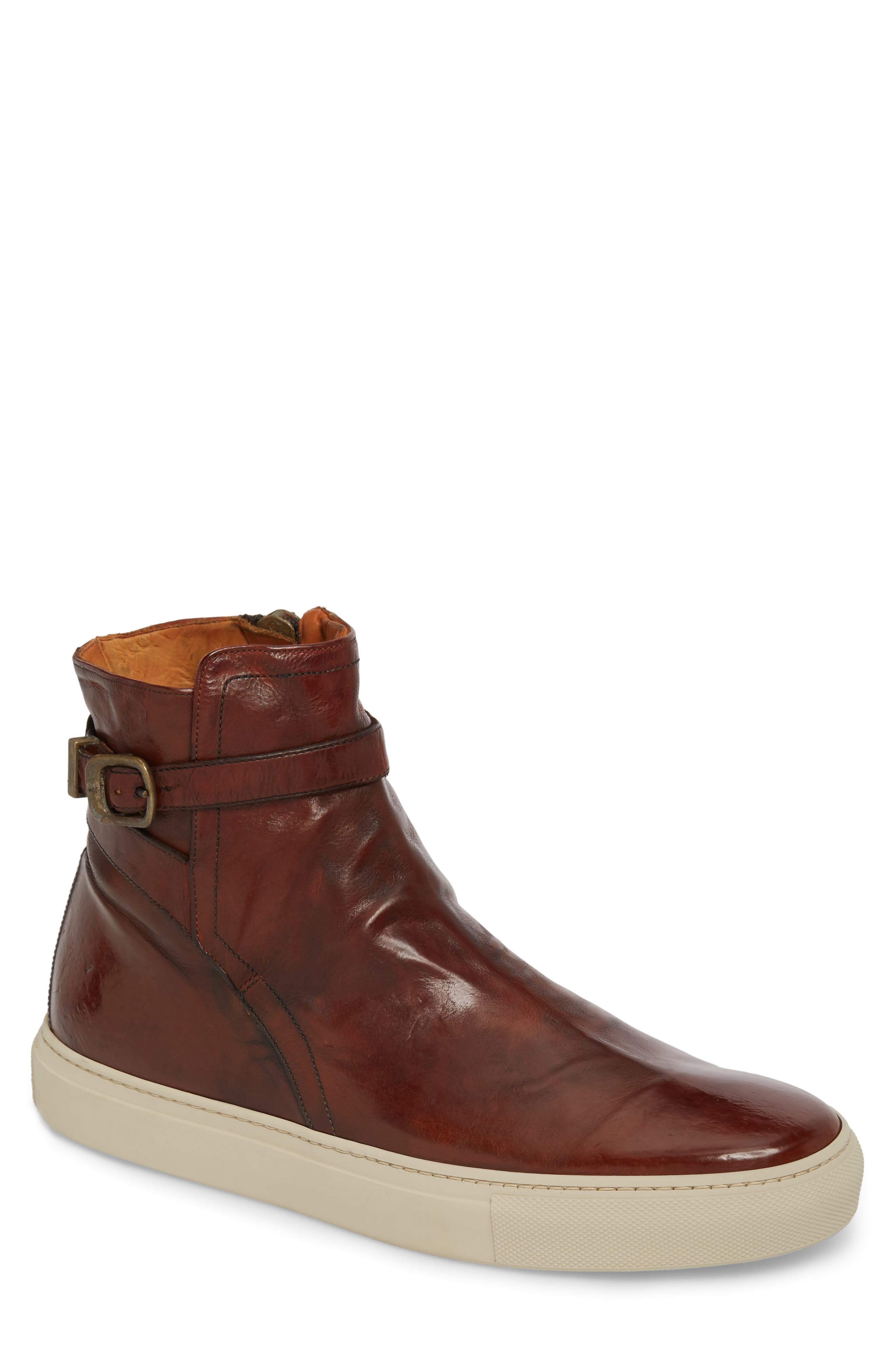 Owen Jodhpur High Top Sneaker,                         Main,                         color, Redwood Leather