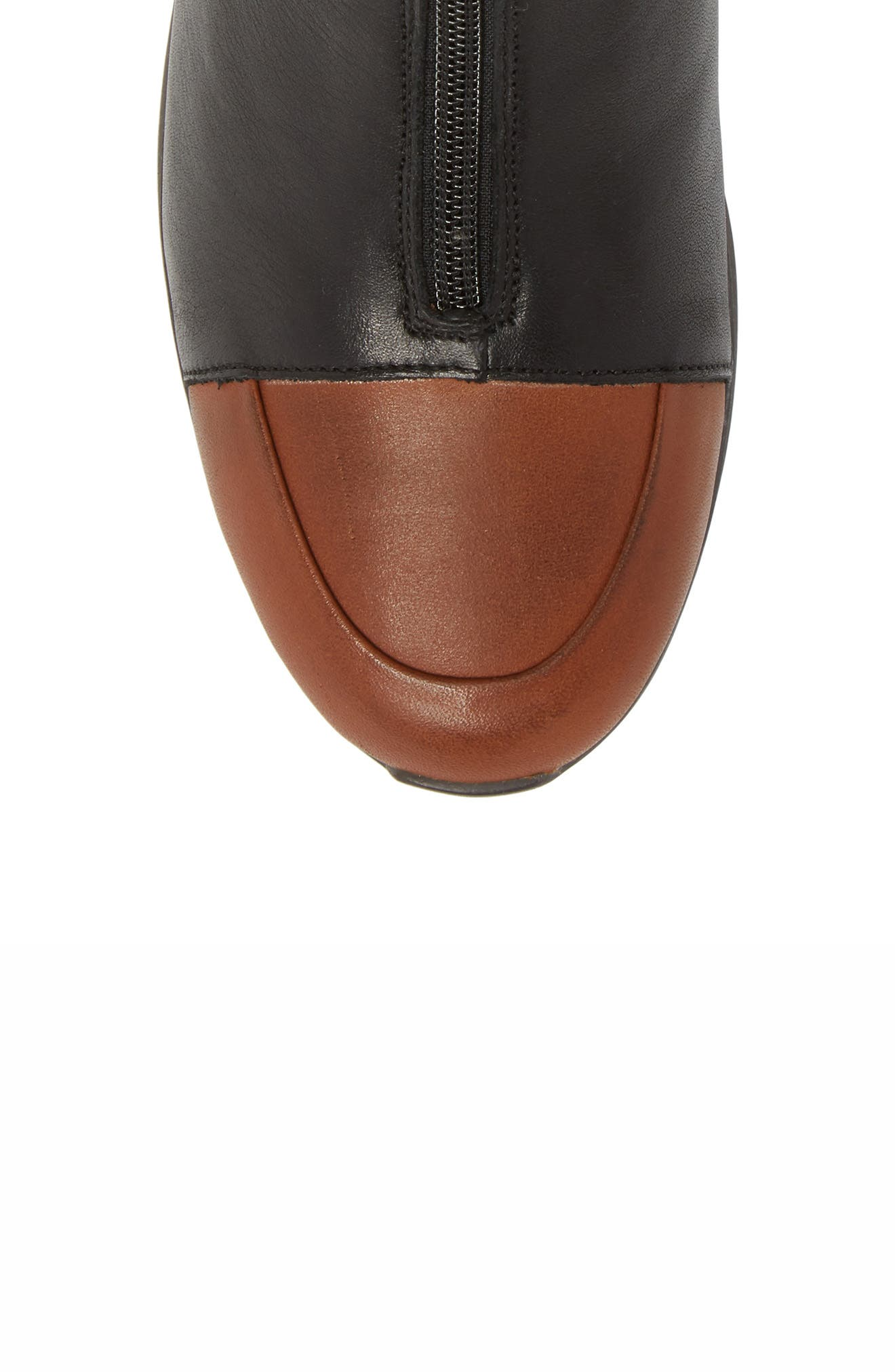 Roy Wool Lined Cap Toe Bootie,                             Alternate thumbnail 5, color,                             Cuoio/ Black Leather