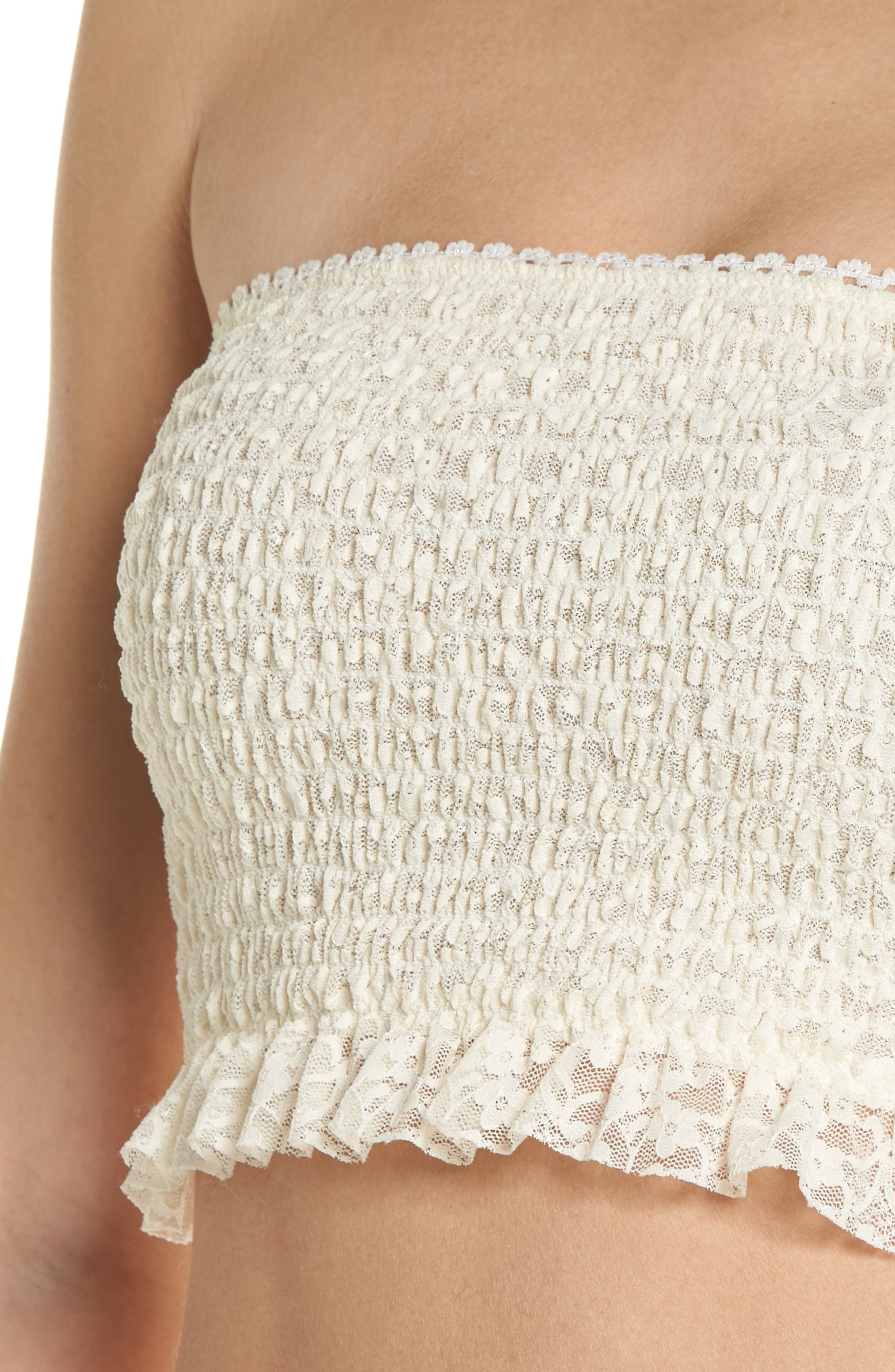 Callie Smocked Bandeau Top,                             Alternate thumbnail 6, color,                             Ivory