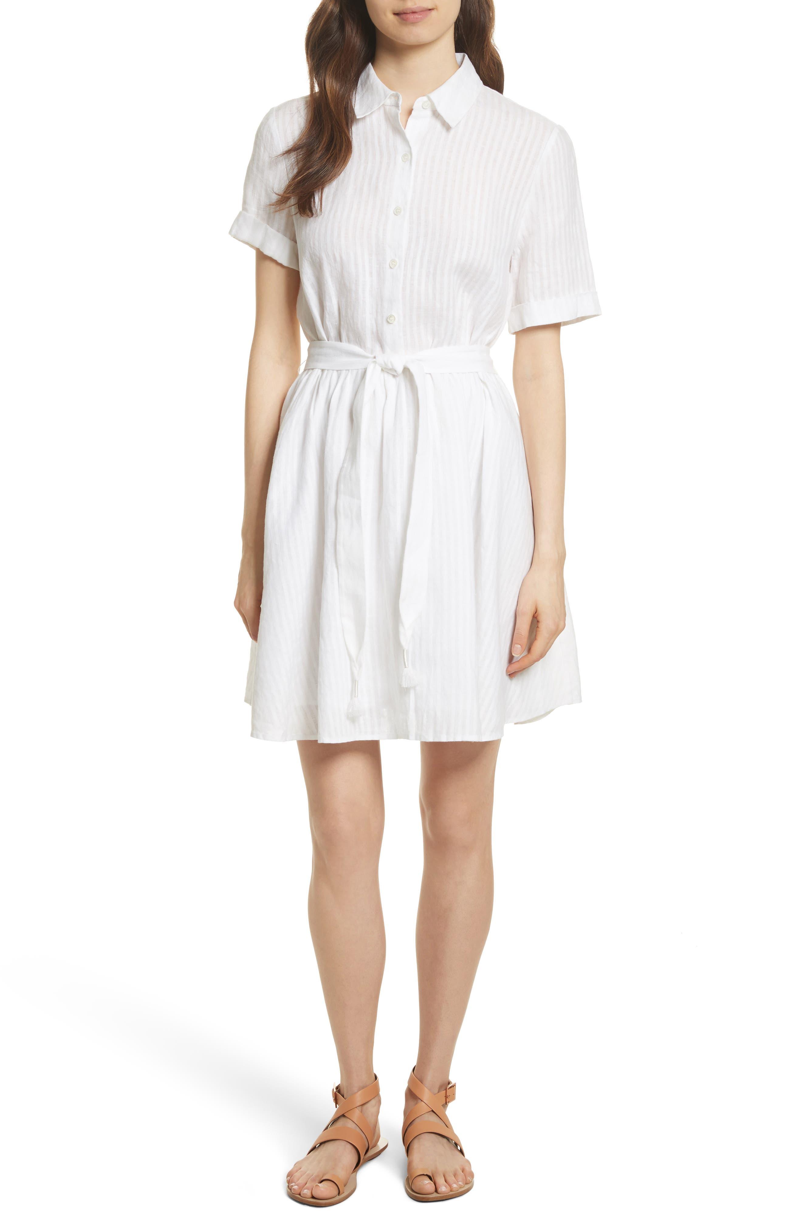 Belted Linen Dress,                         Main,                         color, Blanc