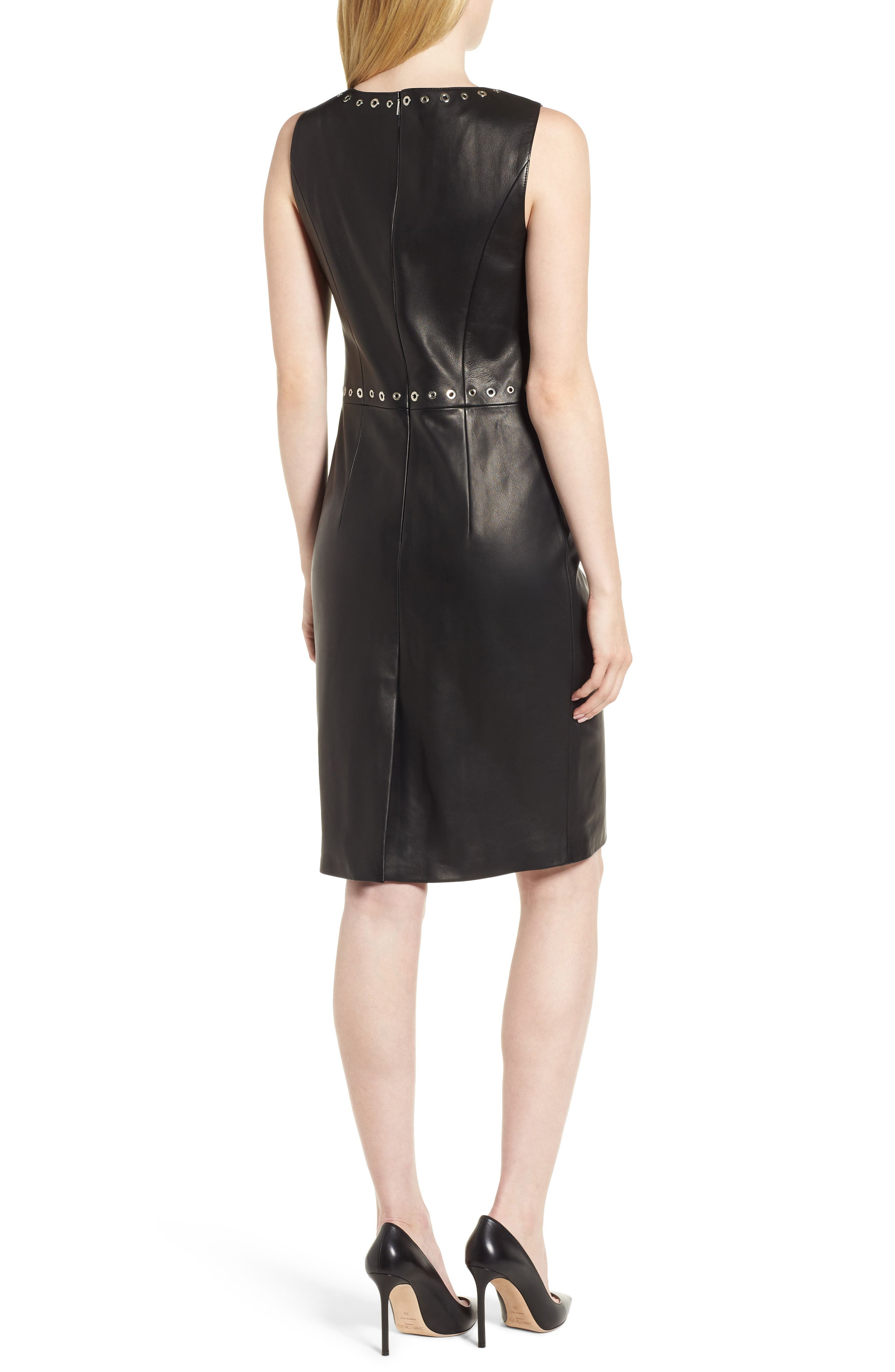 Syrix Leather Sheath Dress,                             Alternate thumbnail 2, color,                             Black