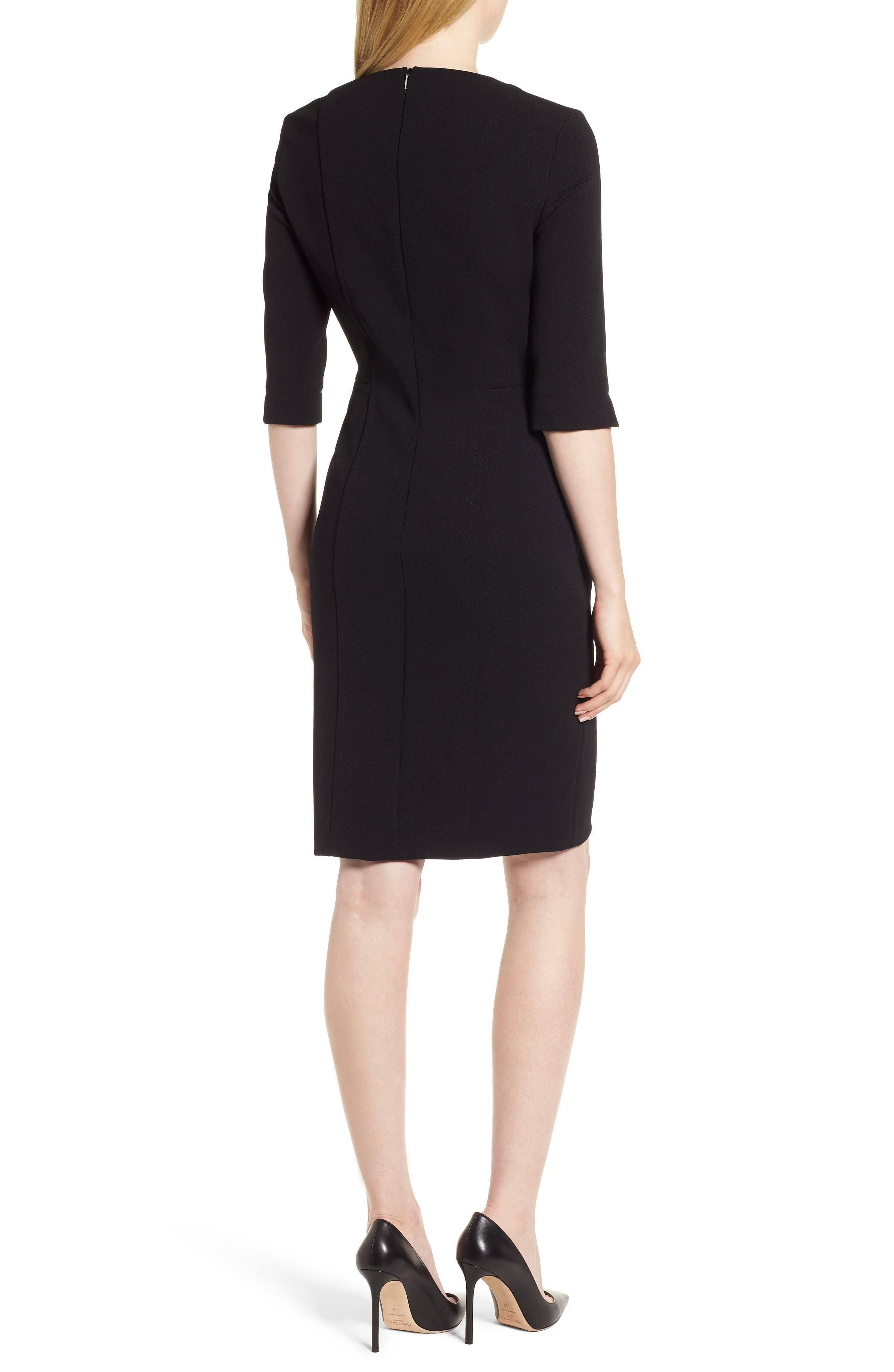 Deazema Twill Jersey Dress,                             Alternate thumbnail 2, color,                             Black