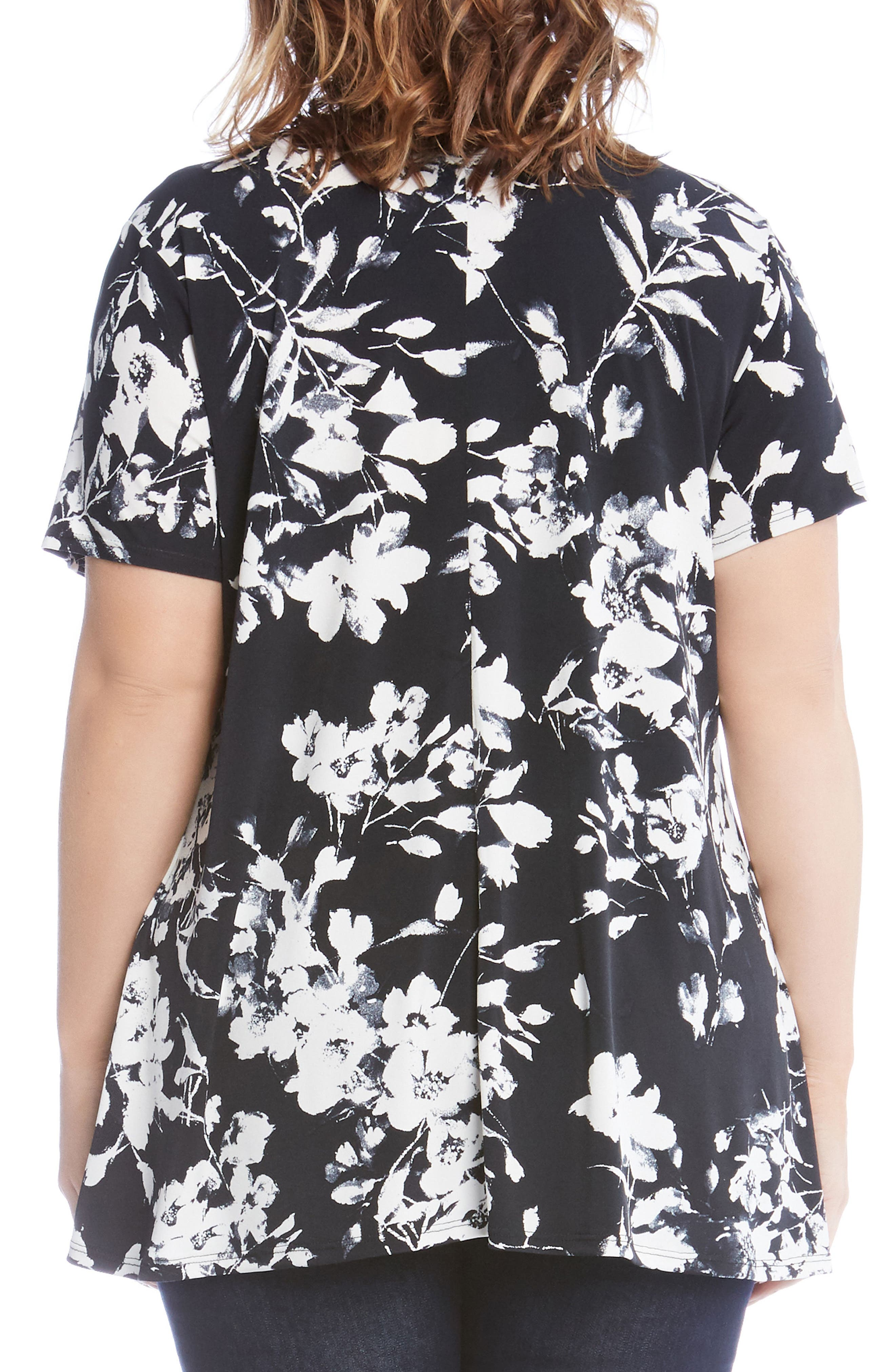 Floral Swing Top,                             Alternate thumbnail 2, color,                             Black