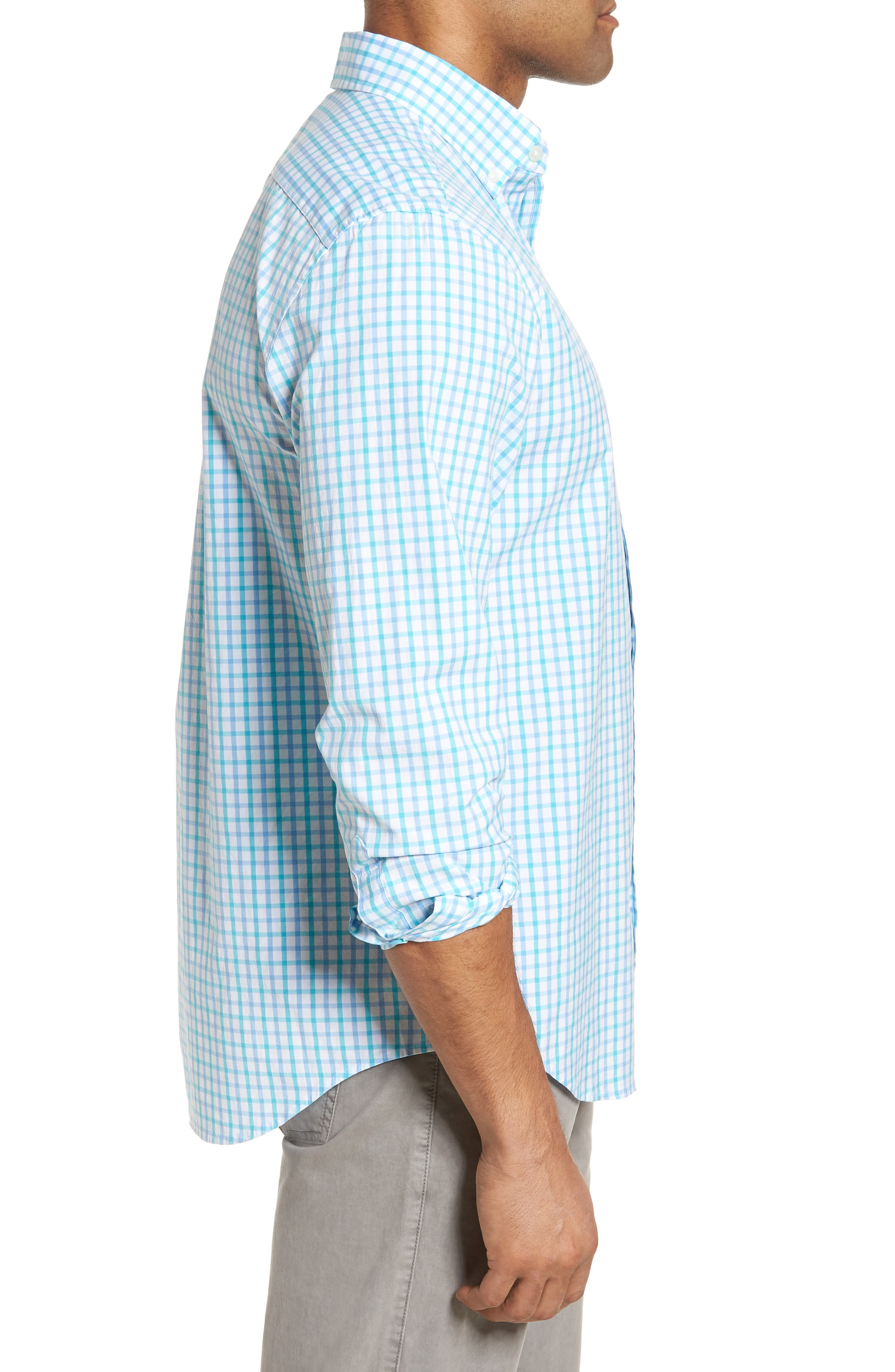 The Marls Classic Fit Stretch Check Sport Shirt,                             Alternate thumbnail 4, color,                             Turquoise