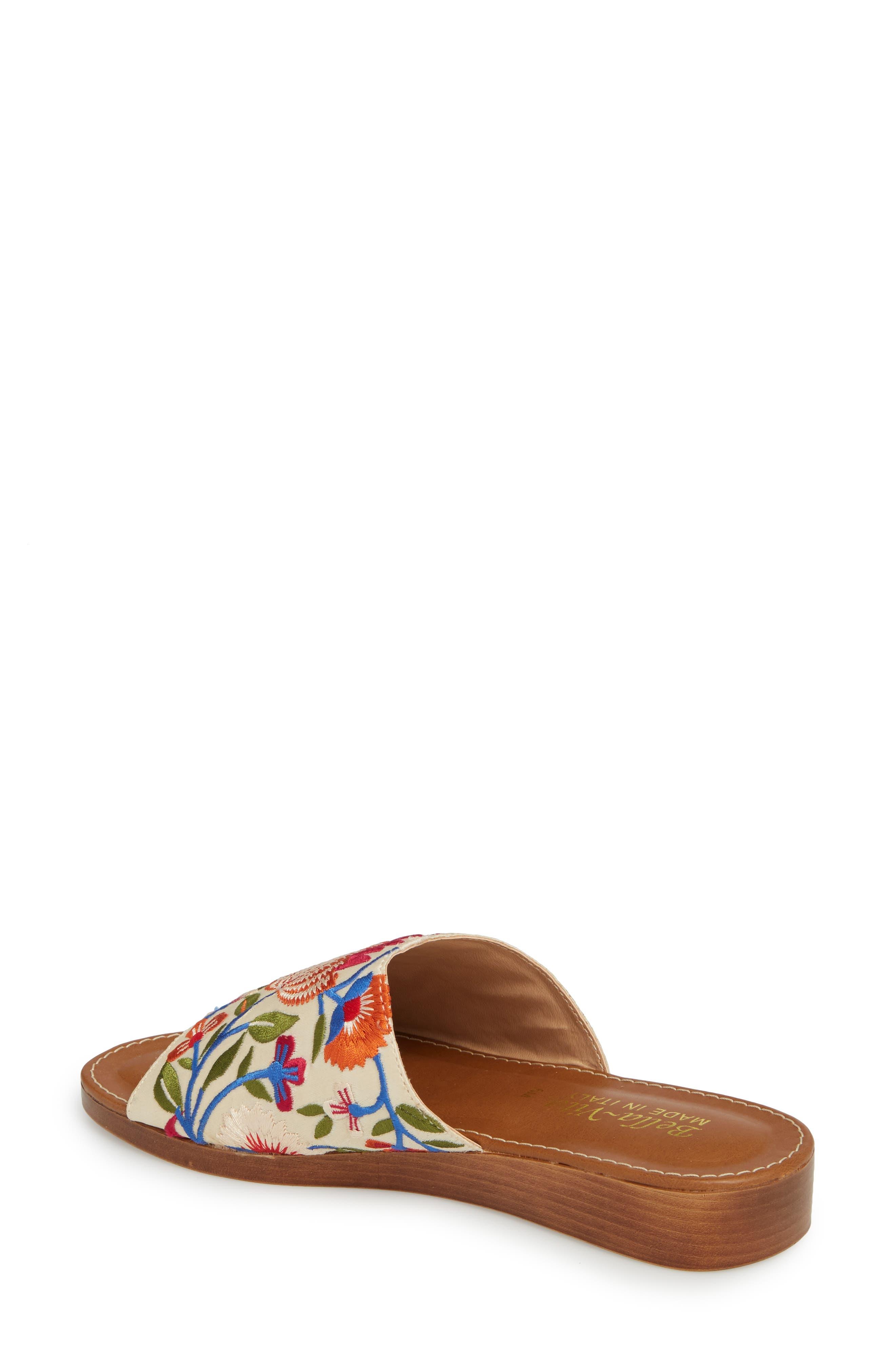 Abi Slide Sandal,                             Alternate thumbnail 2, color,                             Beige Embroidered Fabric