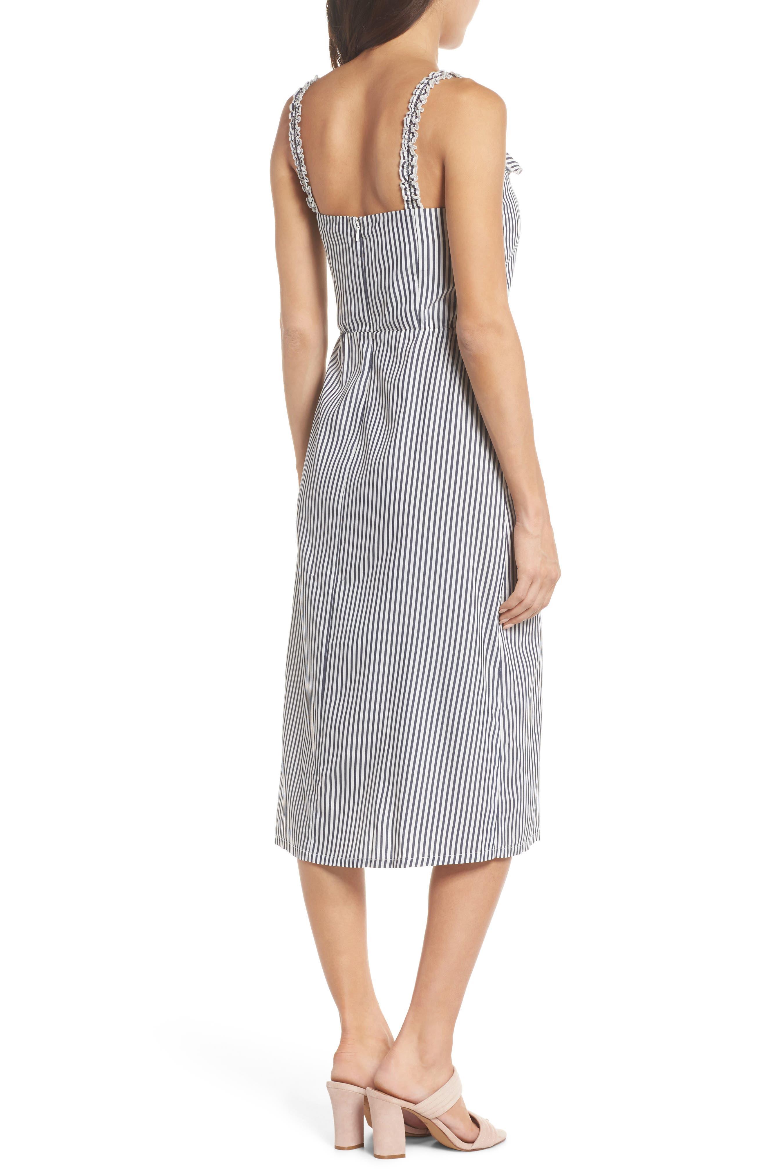 Drinks On Me Stripe Ruffle Midi Dress,                             Alternate thumbnail 2, color,                             Navy/ White Mini Stripe