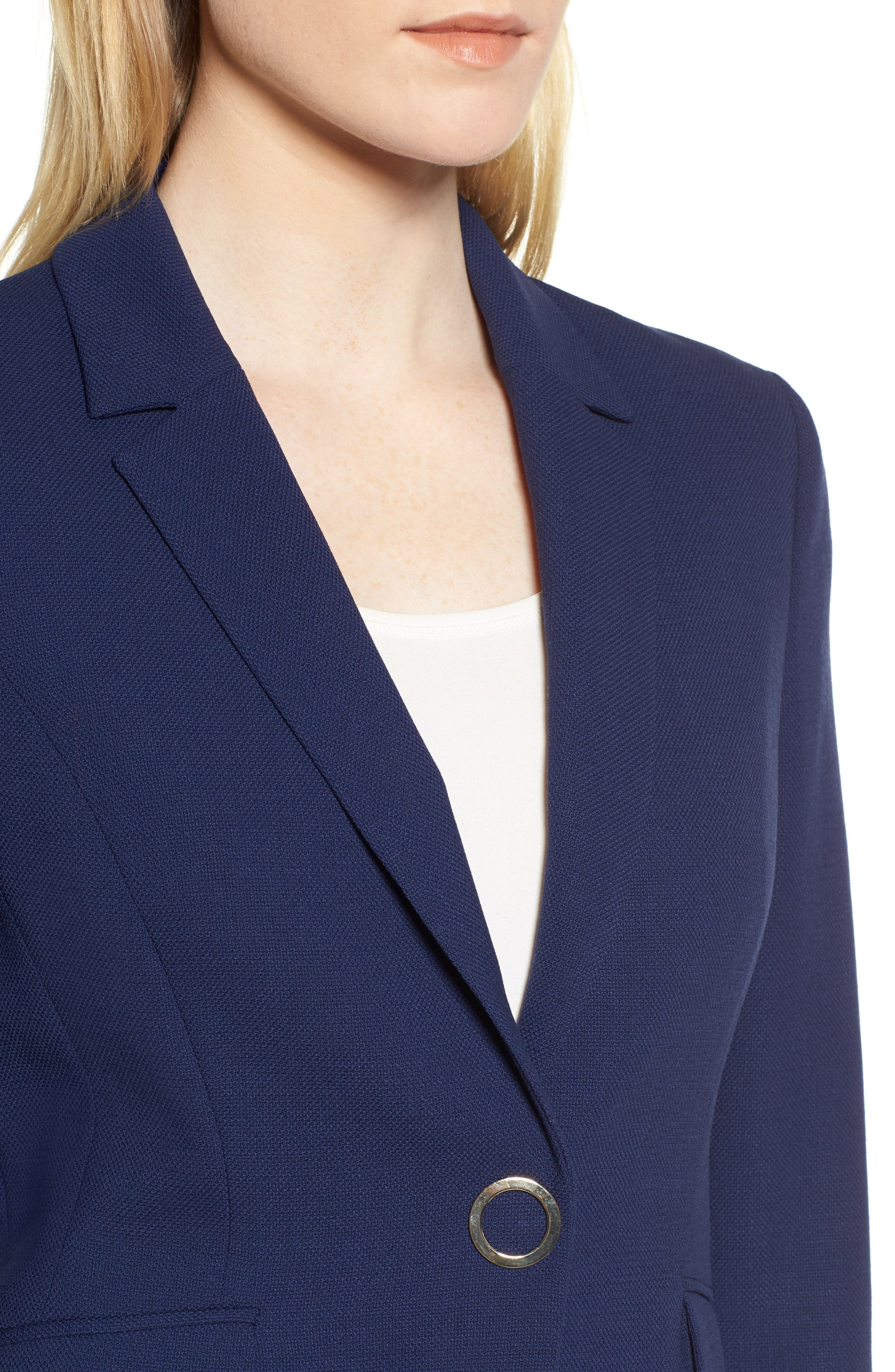 Jibalena Textured Stretch Wool Suit Jacket,                             Alternate thumbnail 4, color,                             Nautical