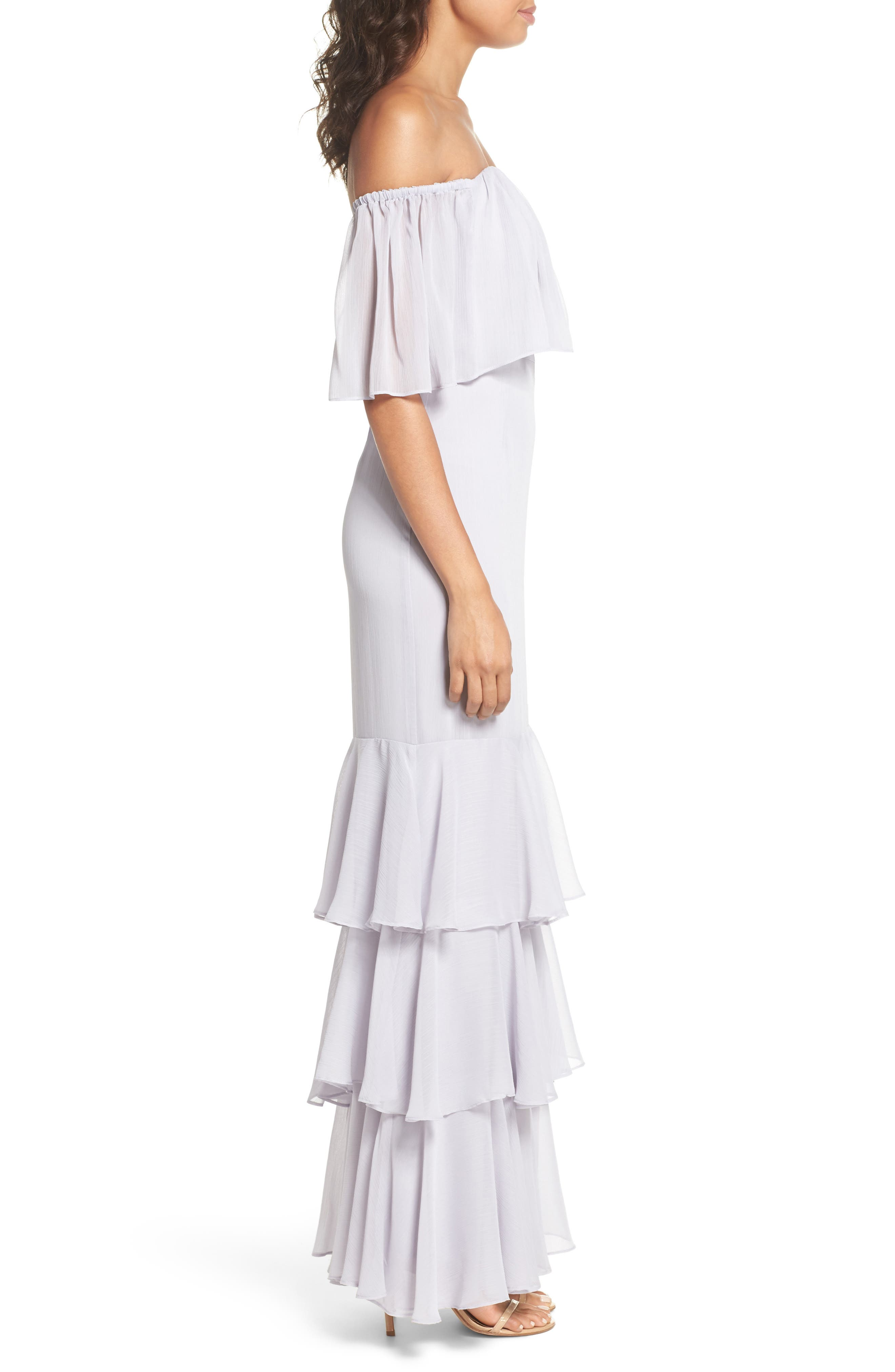 Penelope Off the Shoulder Popover Gown,                             Alternate thumbnail 3, color,                             Ice Marble