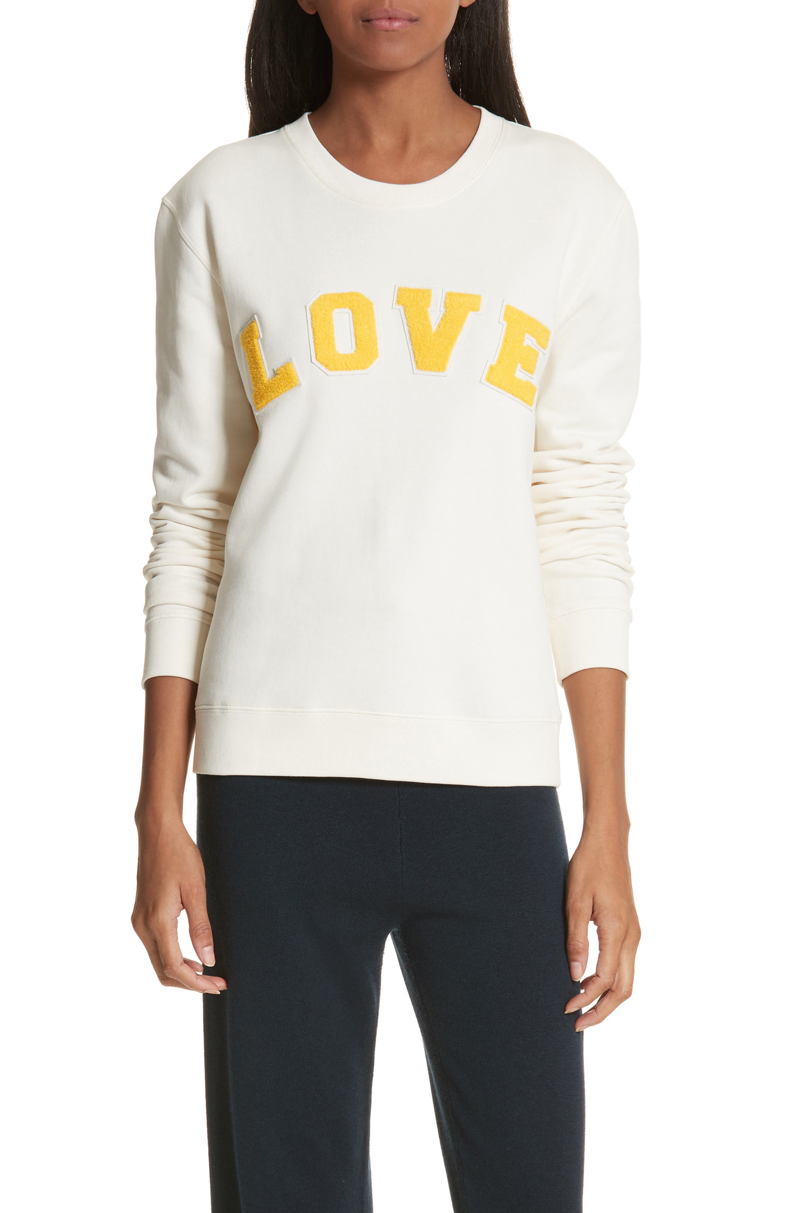 Love Cotton Terry Sweatshirt,                         Main,                         color, Ivory Pearl/ Sundance