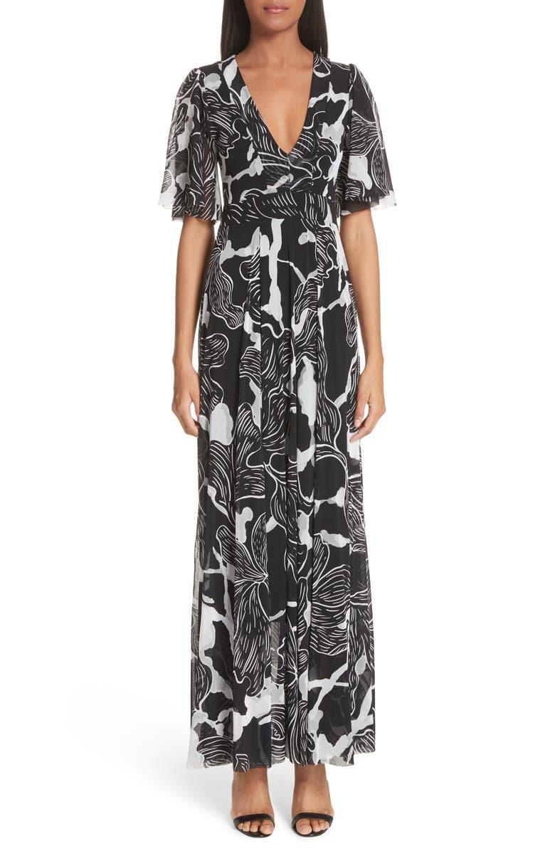 Deco Floral Print Tulle Flutter Sleeve Maxi Dress
