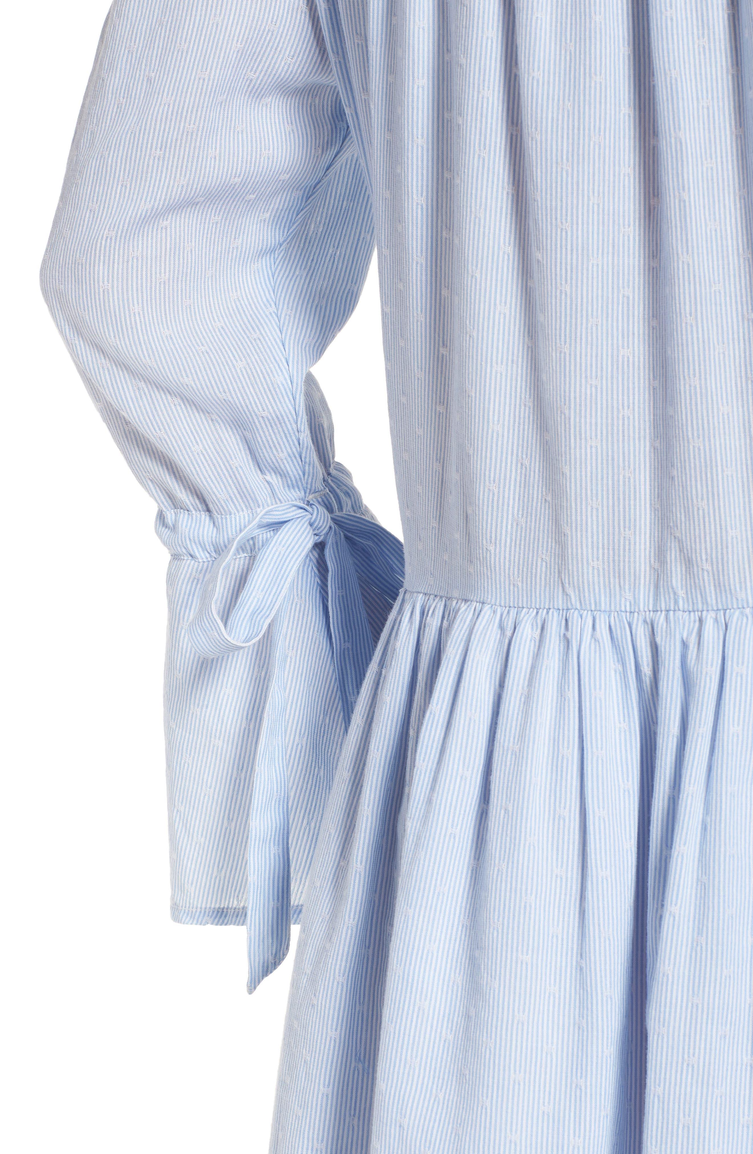 Pinstripe Eyelet Trim Cotton Shirtdress,                             Alternate thumbnail 4, color,                             Blue- White Stripe