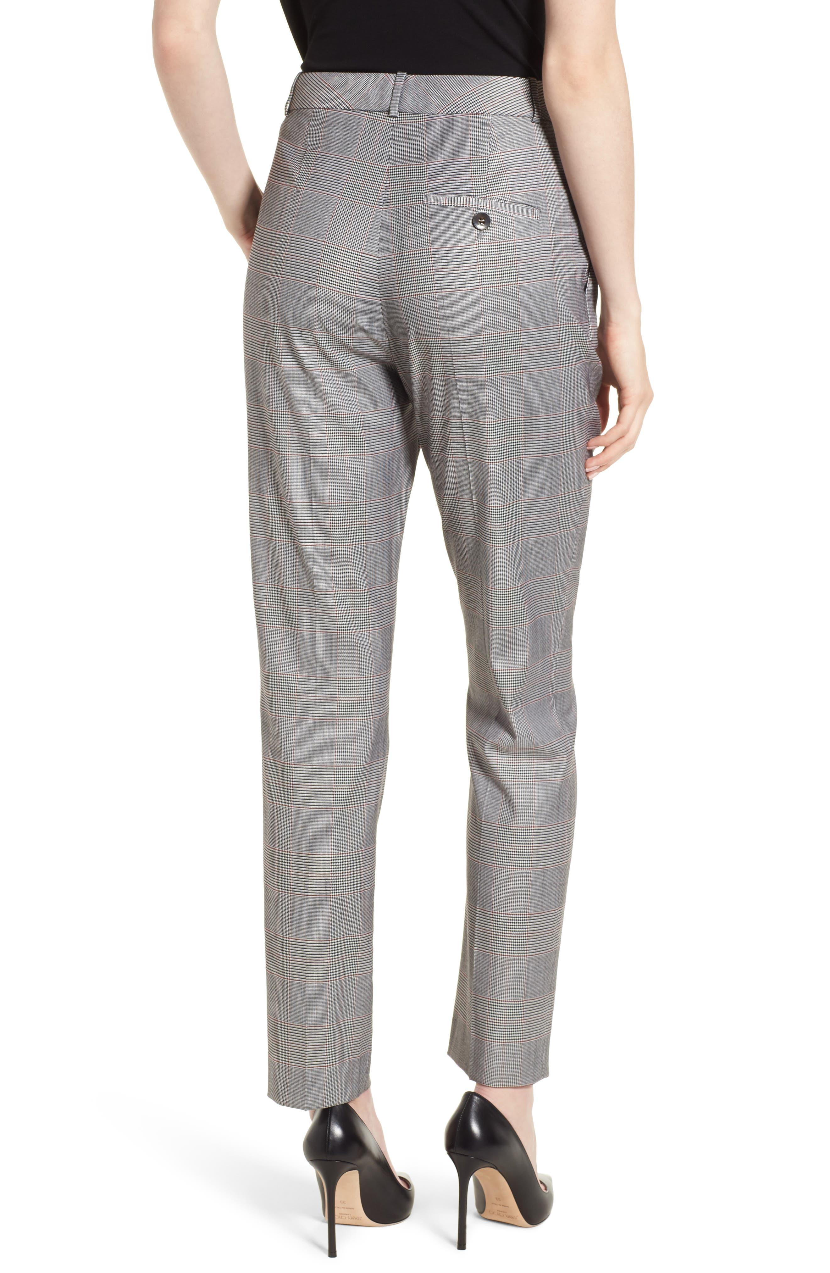 Tofilia Glencheck Slim Fit Trousers,                             Alternate thumbnail 2, color,                             Dark Sunset Orange Fantasy