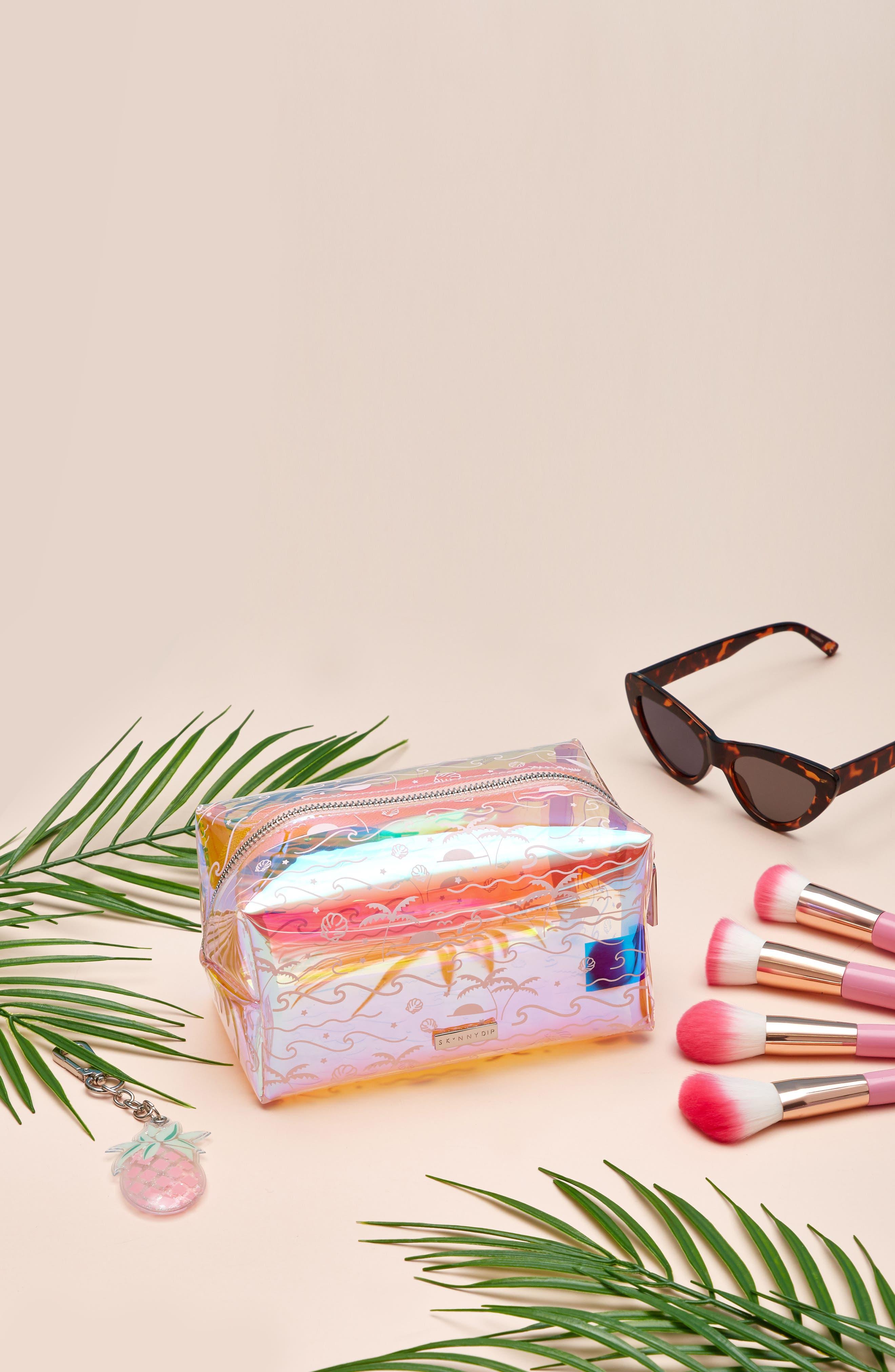 Skinny Dip Ocean Breeze Makeup Bag,                             Alternate thumbnail 4, color,                             No Color