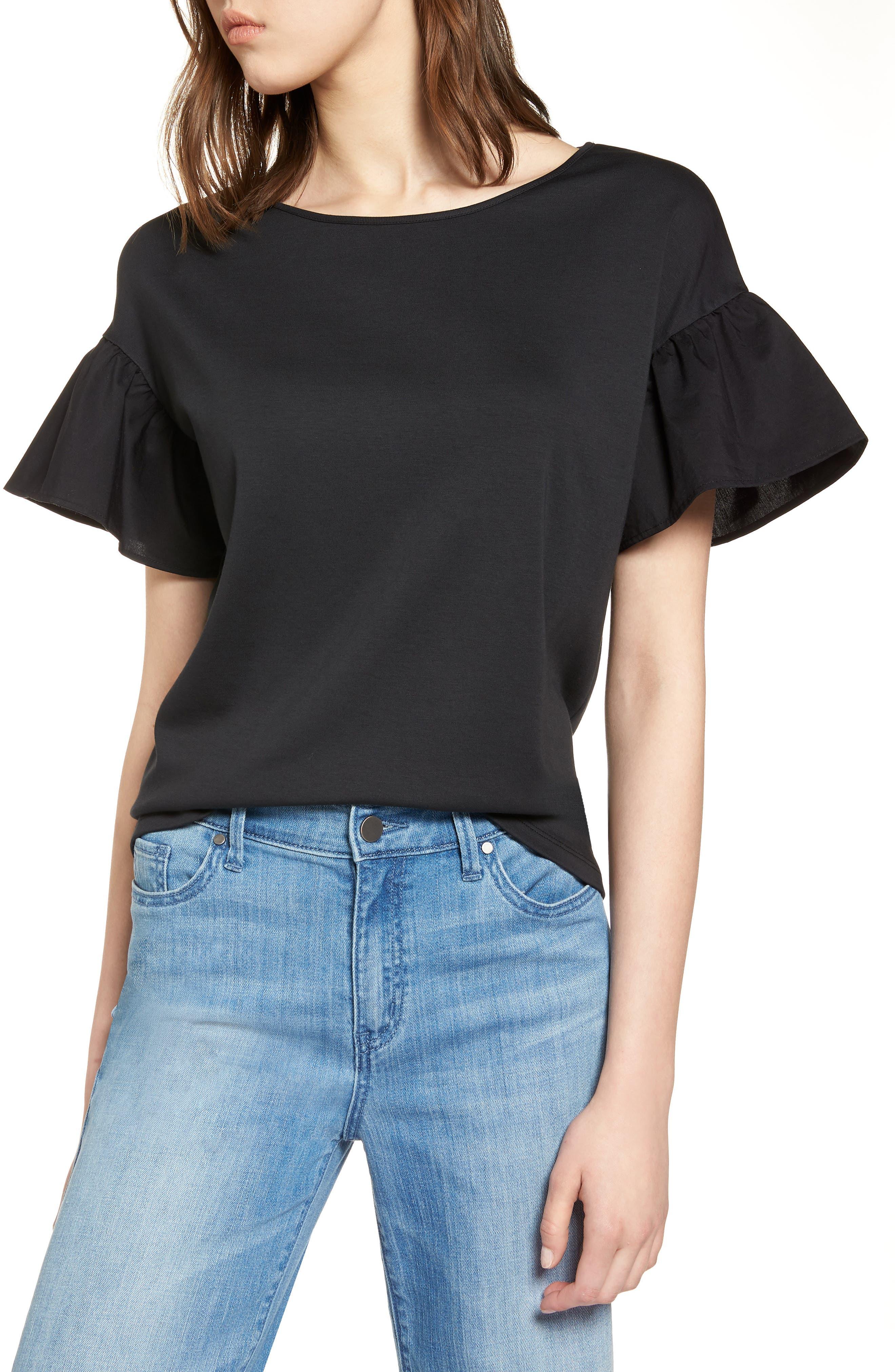 Flutter Sleeve Cotton Knit Top,                             Main thumbnail 1, color,                             Black