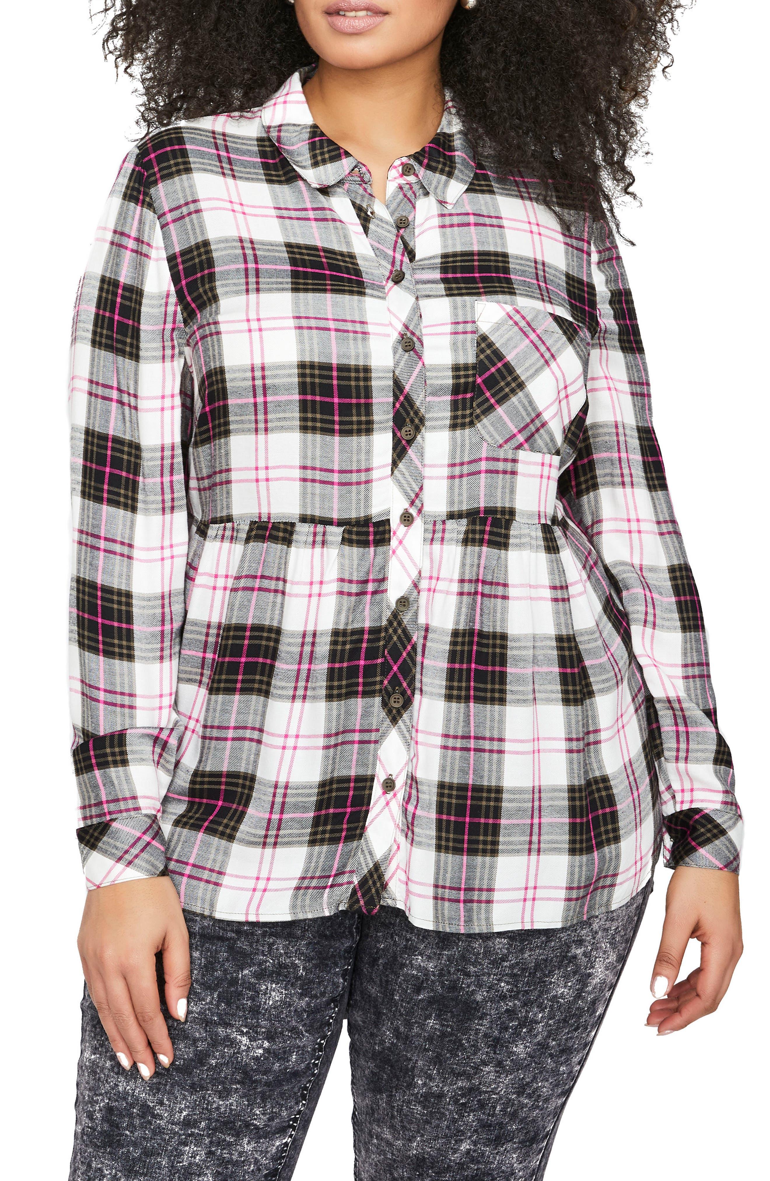 ADDITION ELLE LOVE AND LEGEND Plaid Babydoll Shirt (Plus Size)