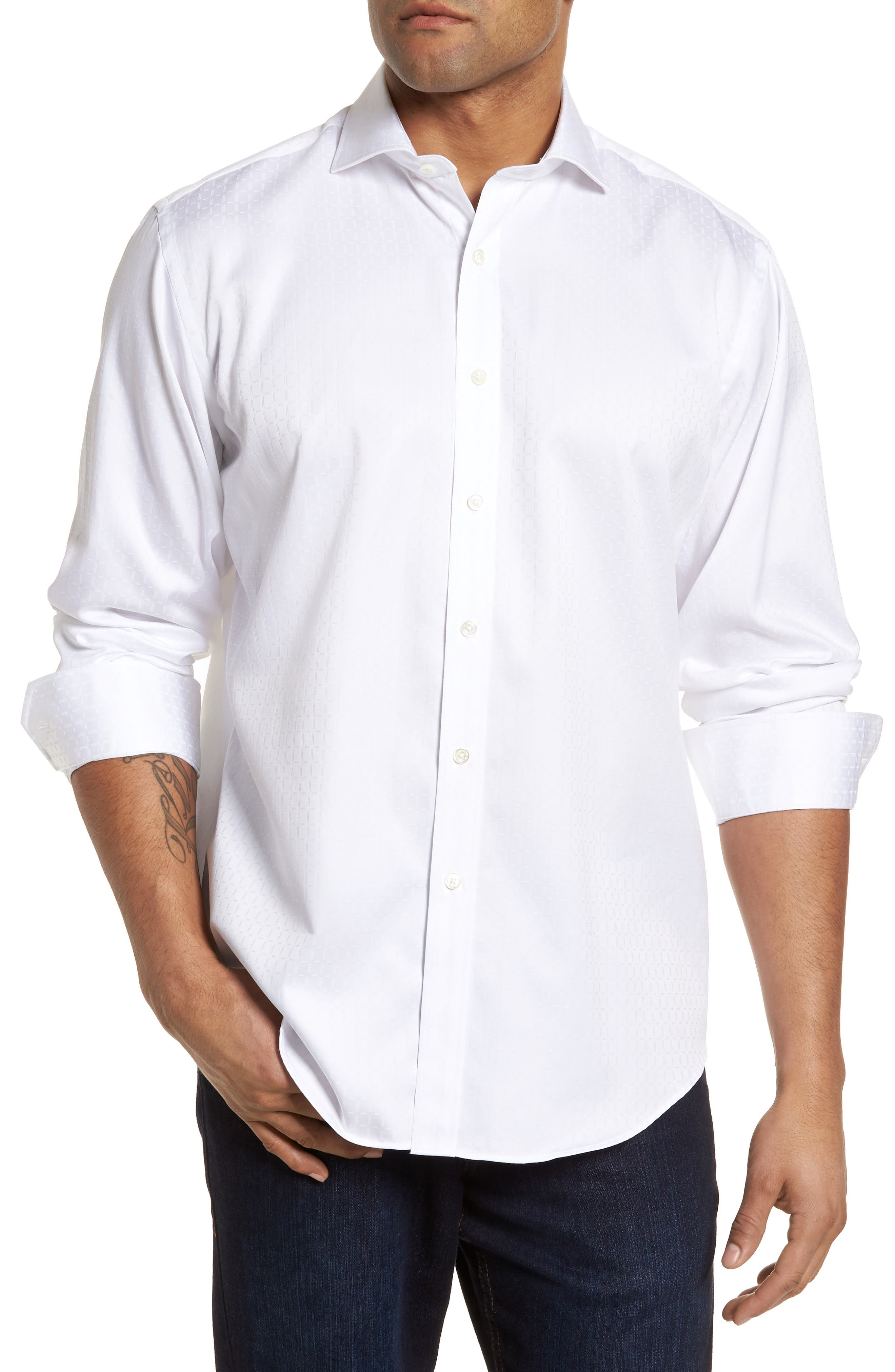 Classic Fit Woven Sport Shirt,                         Main,                         color, White