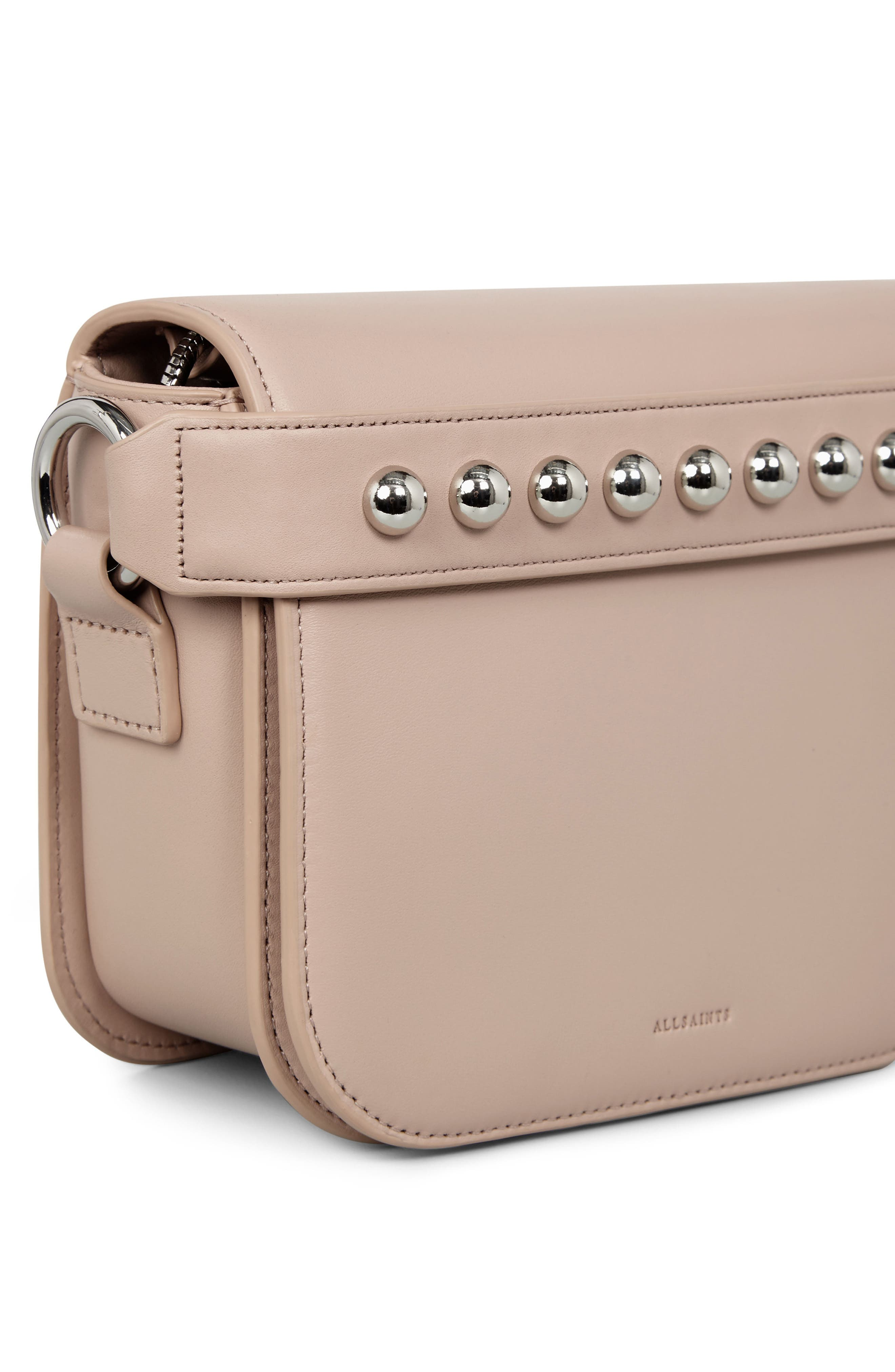 Suzi Studded Leather Clutch,                             Alternate thumbnail 8, color,                             Natural