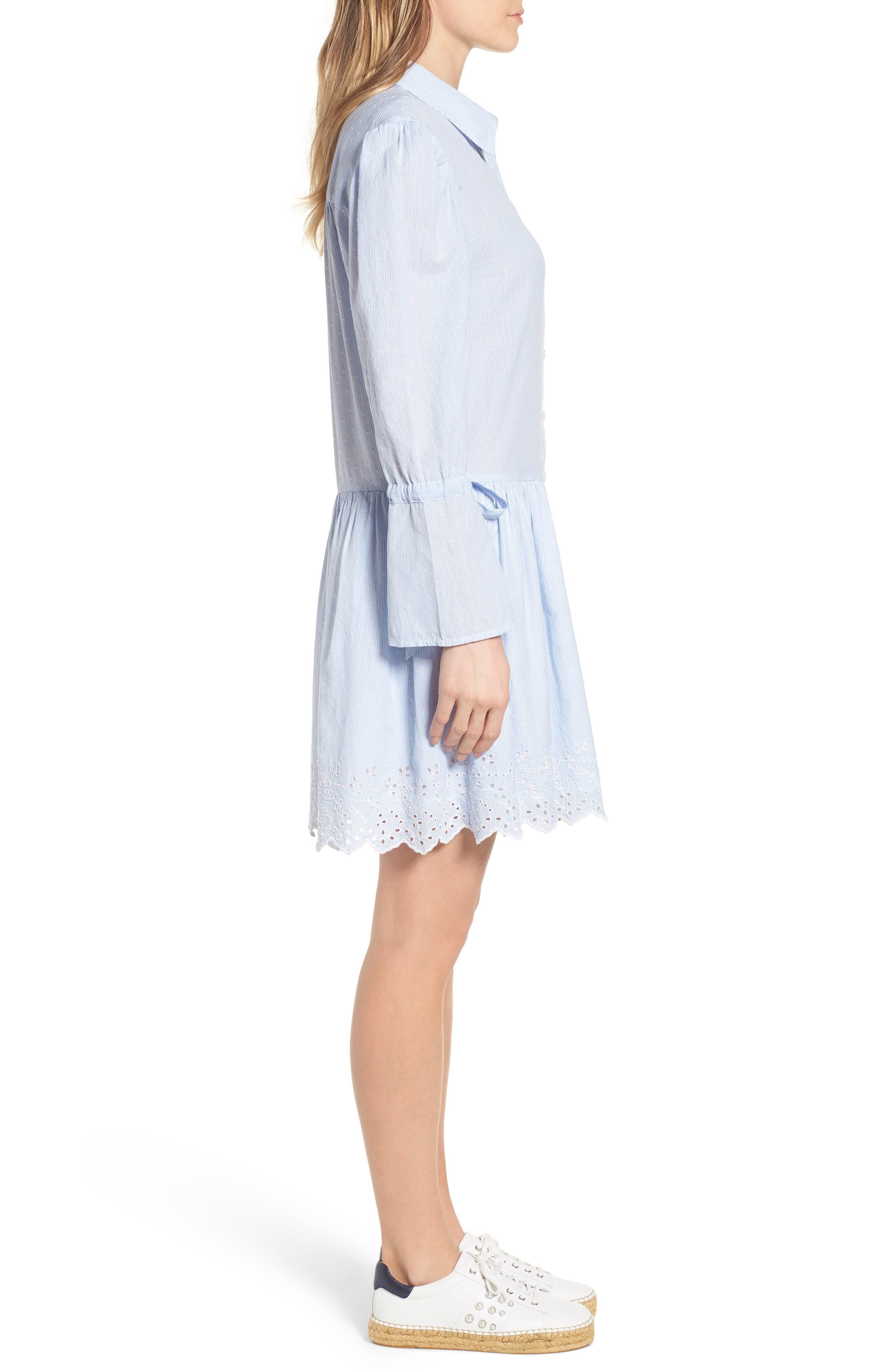 Pinstripe Eyelet Trim Cotton Shirtdress,                             Alternate thumbnail 3, color,                             Blue- White Stripe