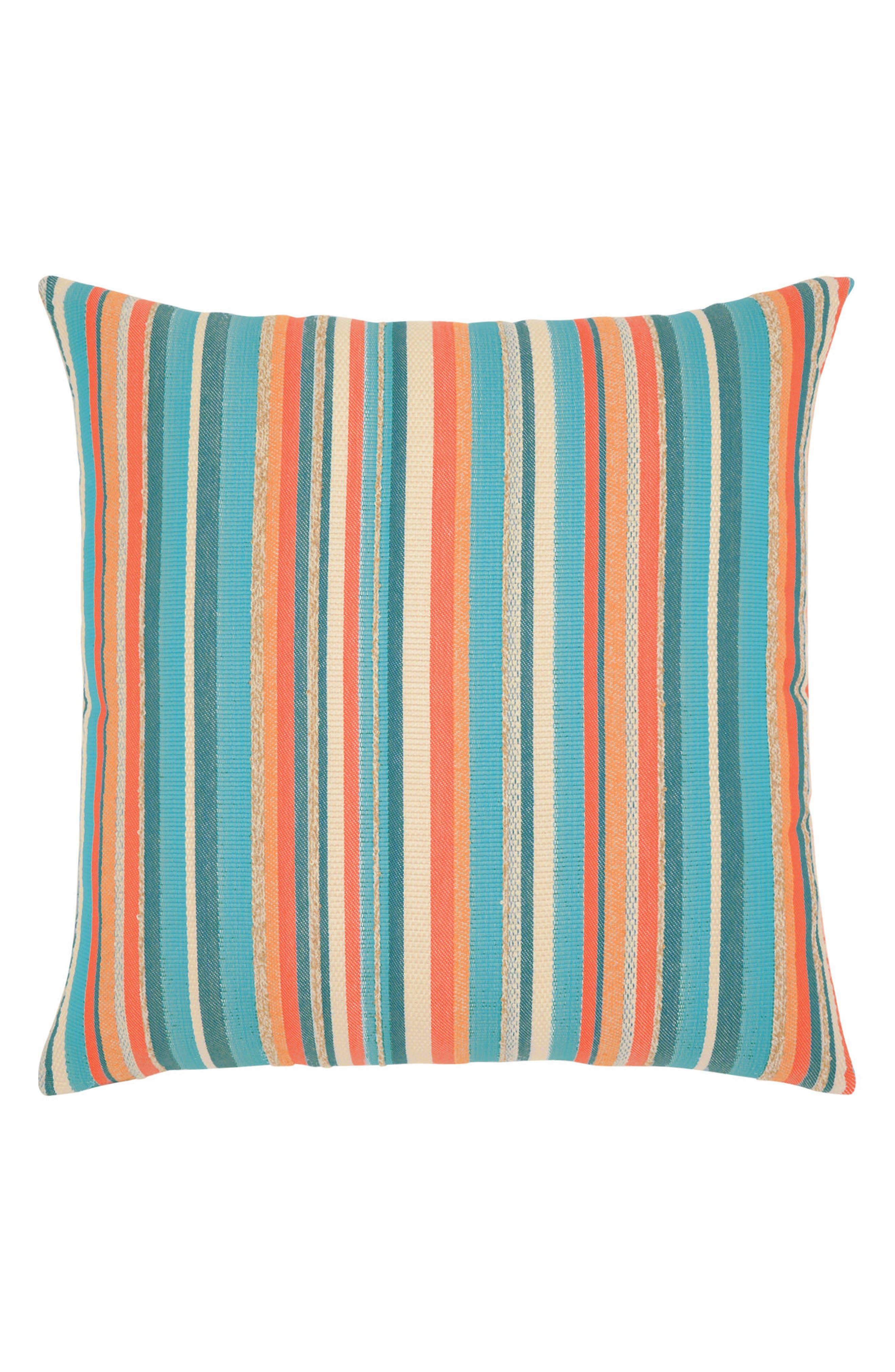 Grand Turk Stripe Indoor/Outdoor Accent Pillow,                             Main thumbnail 1, color,                             Blue/ Orange