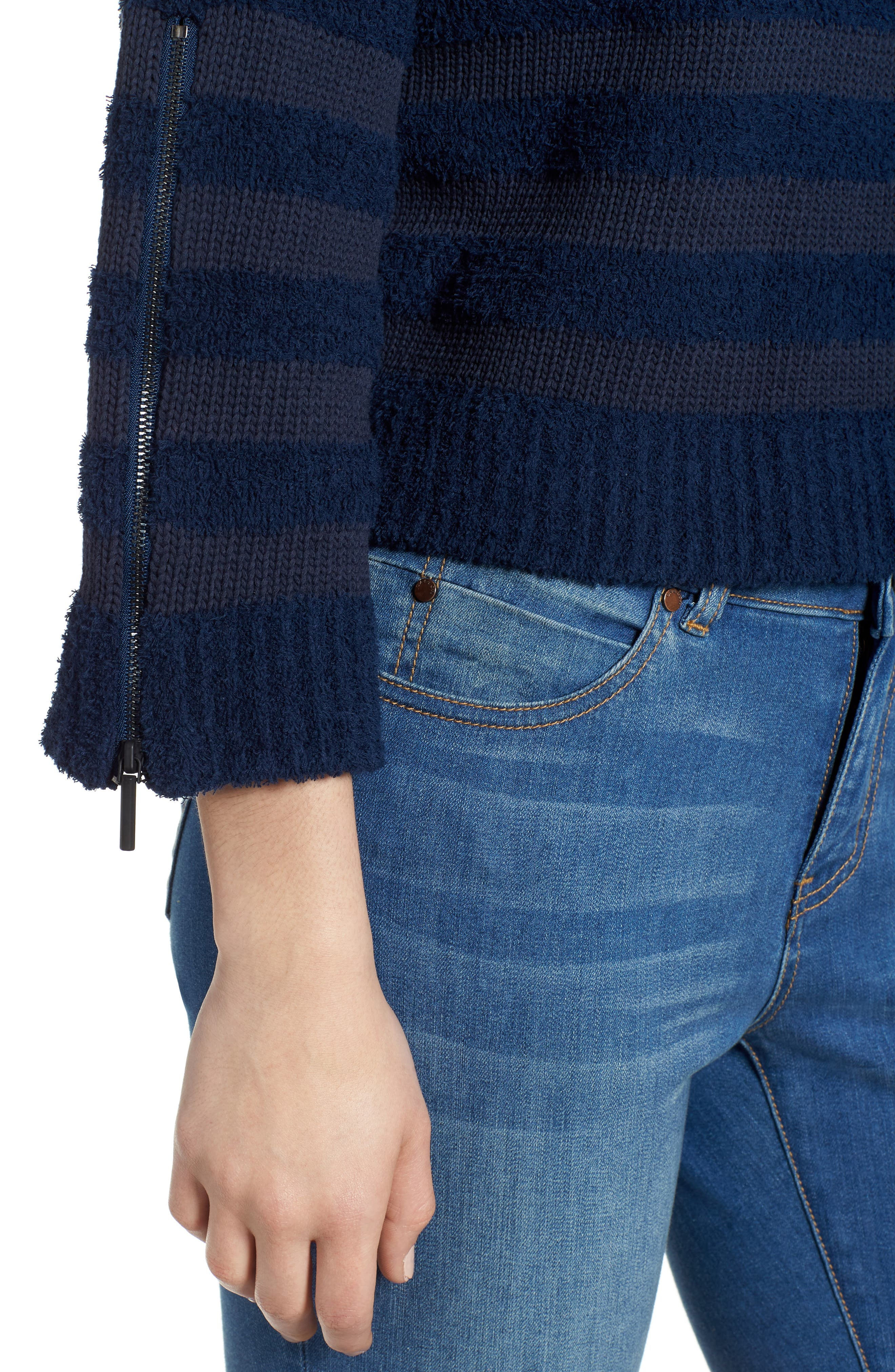 Zip Sleeve Stripe Sweater,                             Alternate thumbnail 4, color,                             Indigo