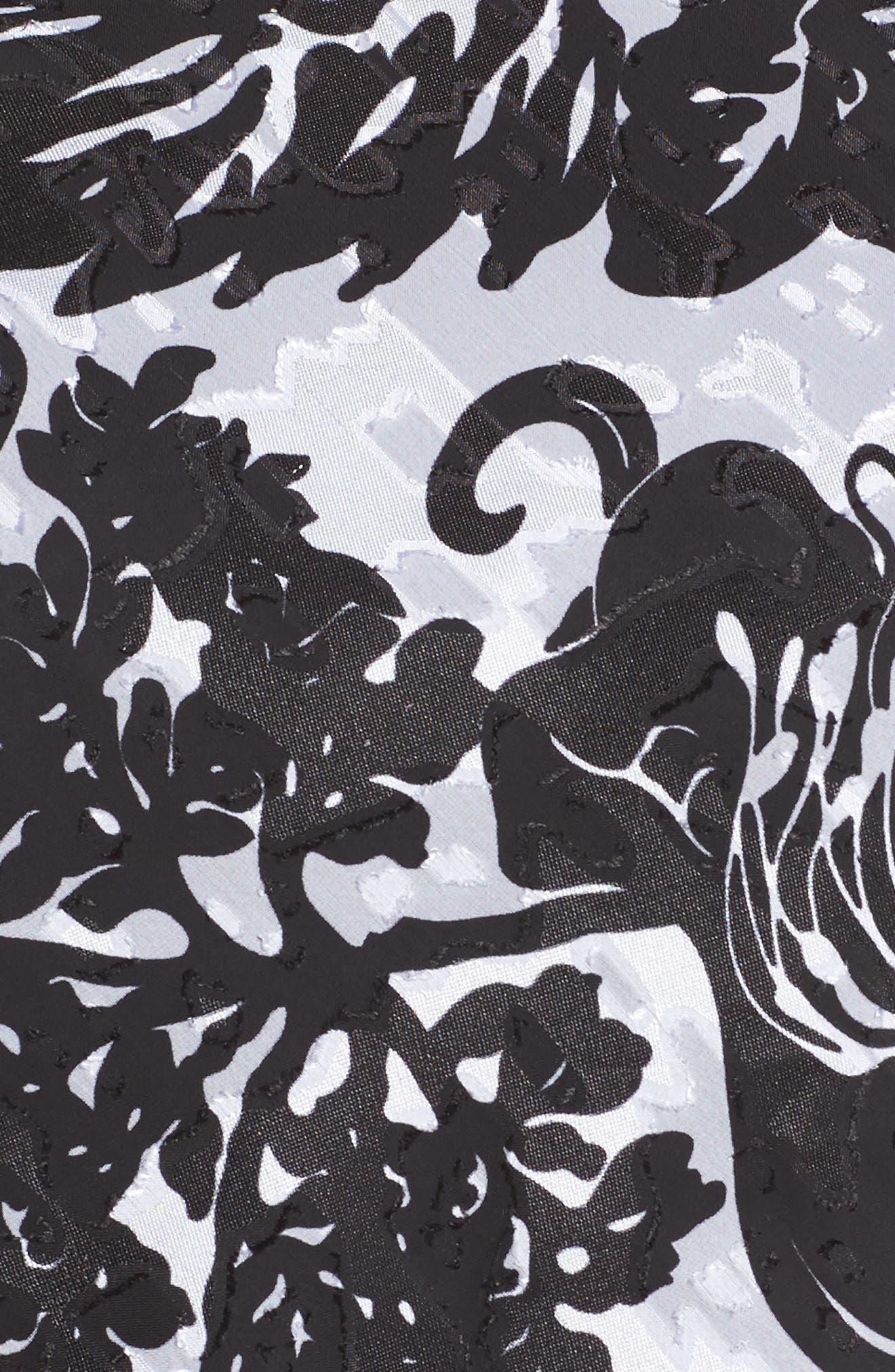 Print Tiered Blouse,                             Alternate thumbnail 6, color,                             Black/ White