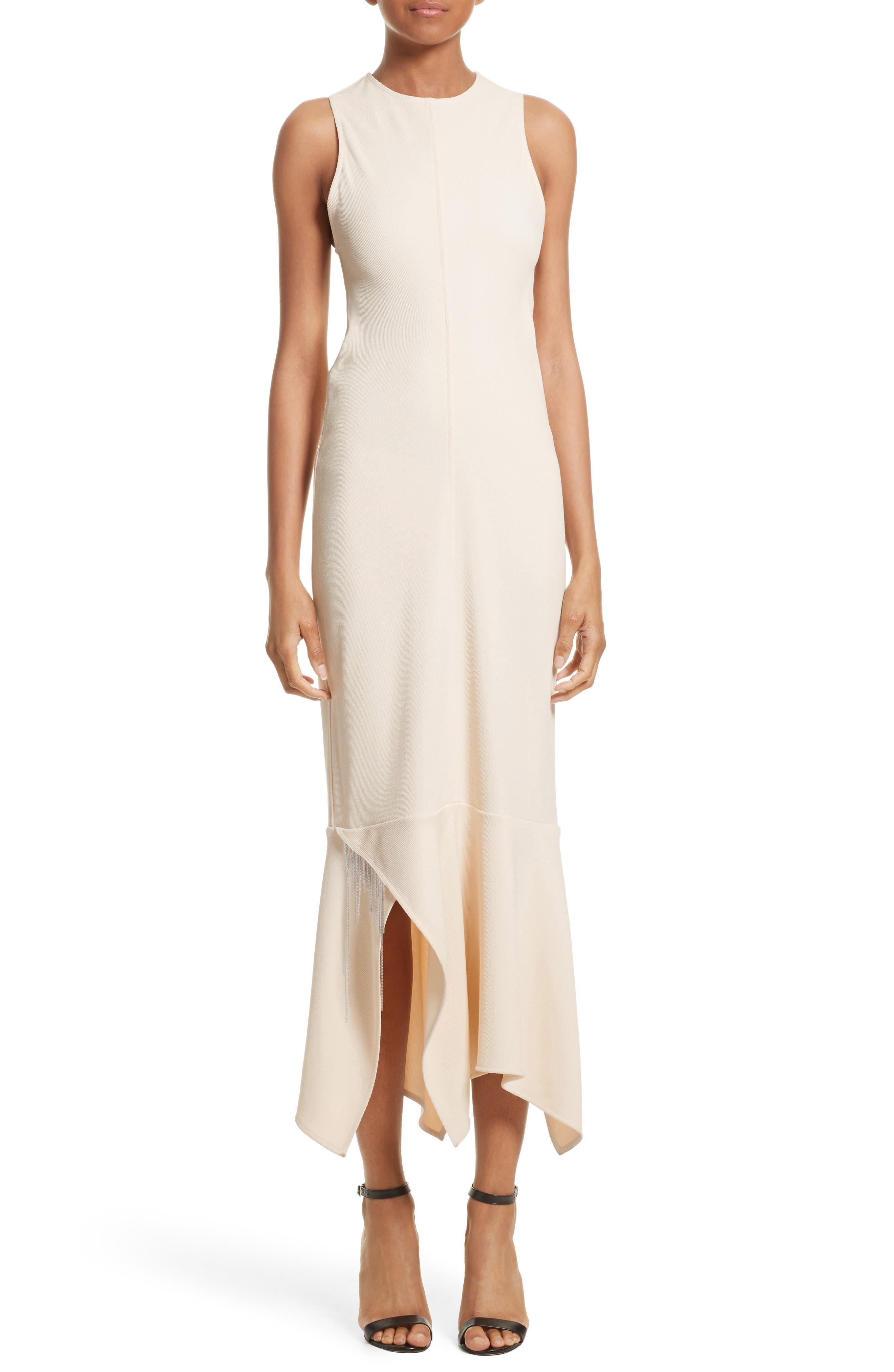 Handkerchief Hem Racerback Dress,                             Main thumbnail 1, color,                             Cream
