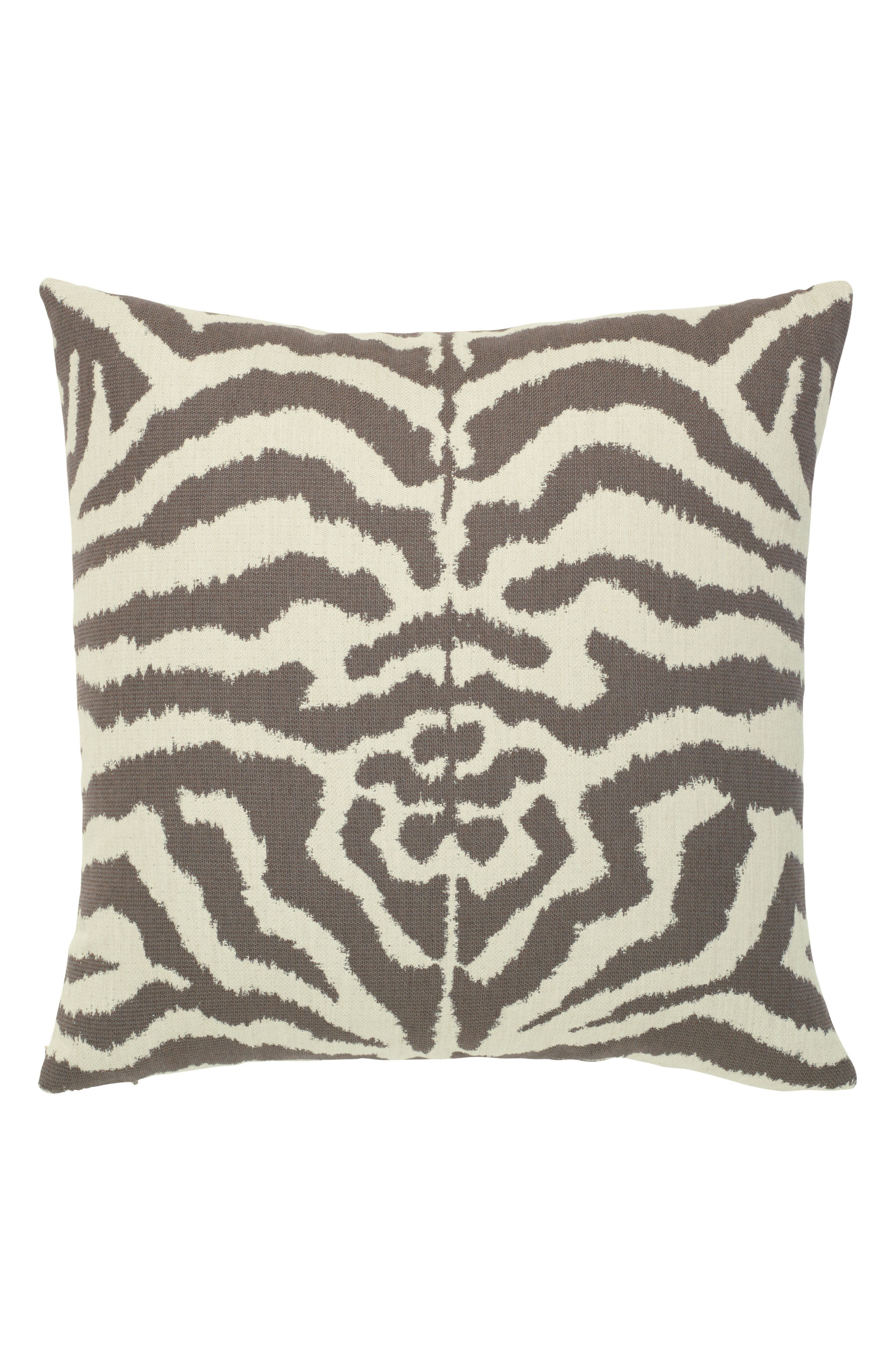 Zebra Mocha Indoor/Outdoor Accent Pillow,                             Main thumbnail 1, color,                             Brown/ White