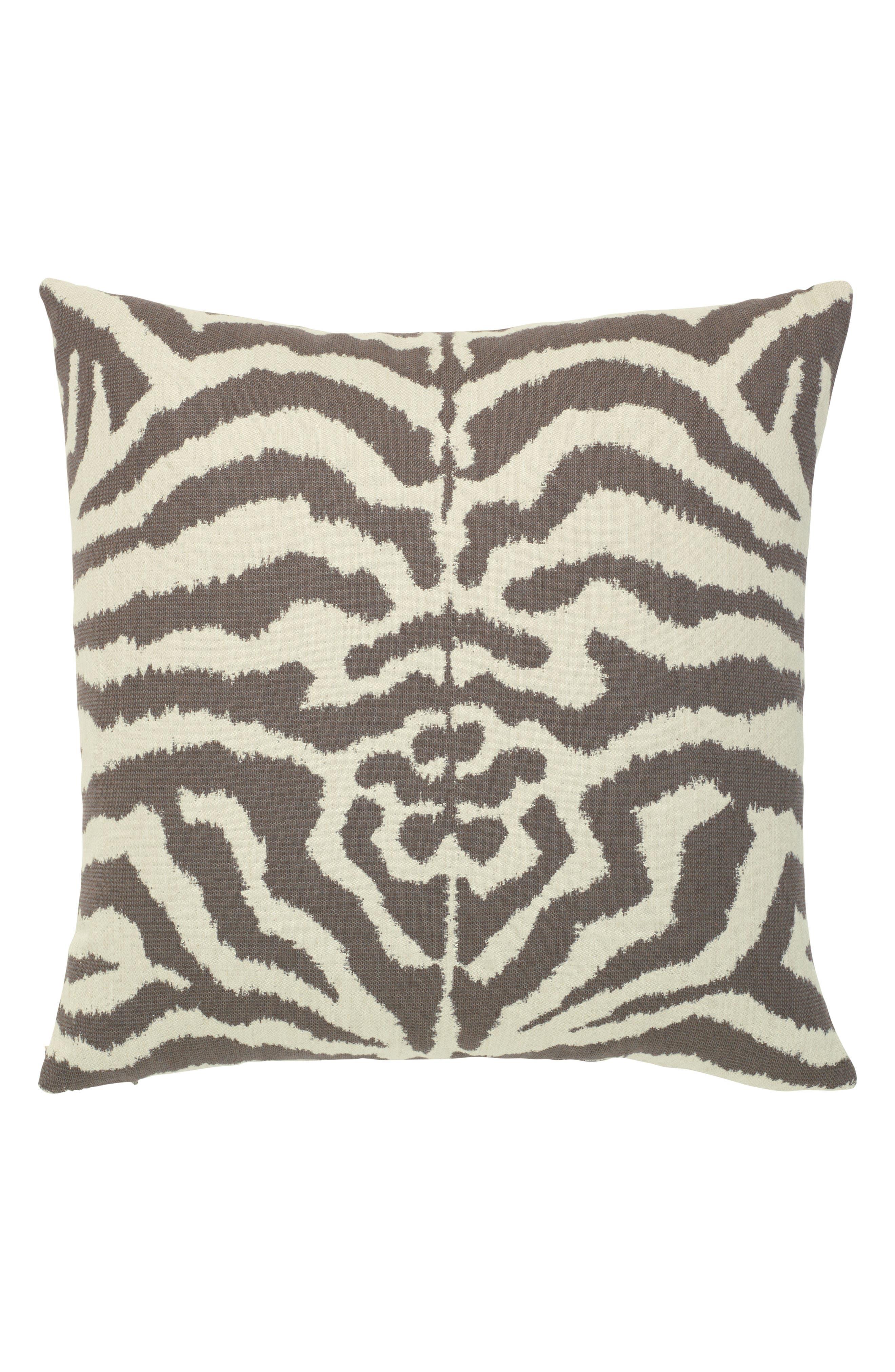 Zebra Mocha Indoor/Outdoor Accent Pillow,                         Main,                         color, Brown/ White