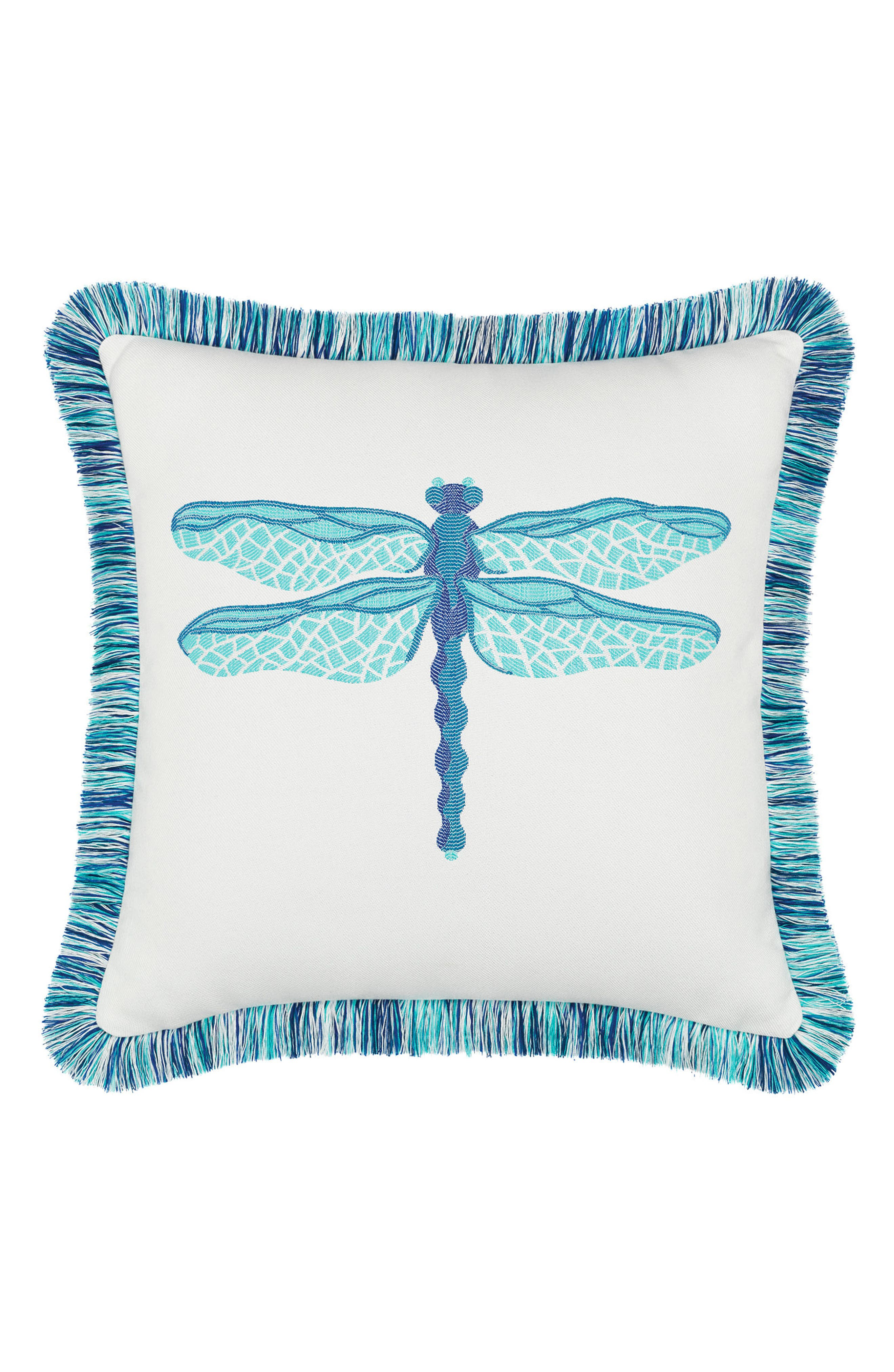 Dragonfly Indoor/Outdoor Accent Pillow,                         Main,                         color, Blue/ White