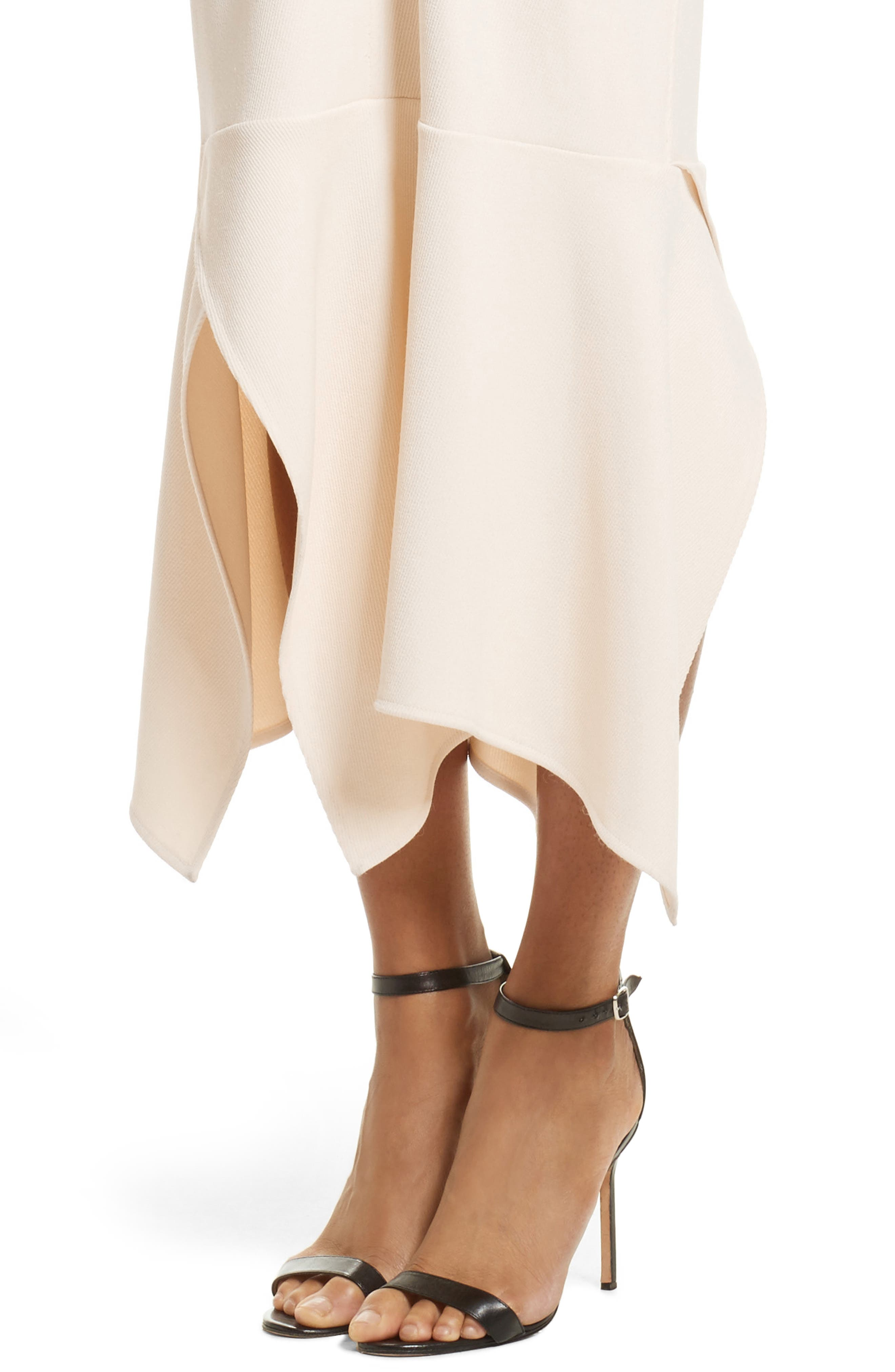 Handkerchief Hem Racerback Dress,                             Alternate thumbnail 4, color,                             Cream