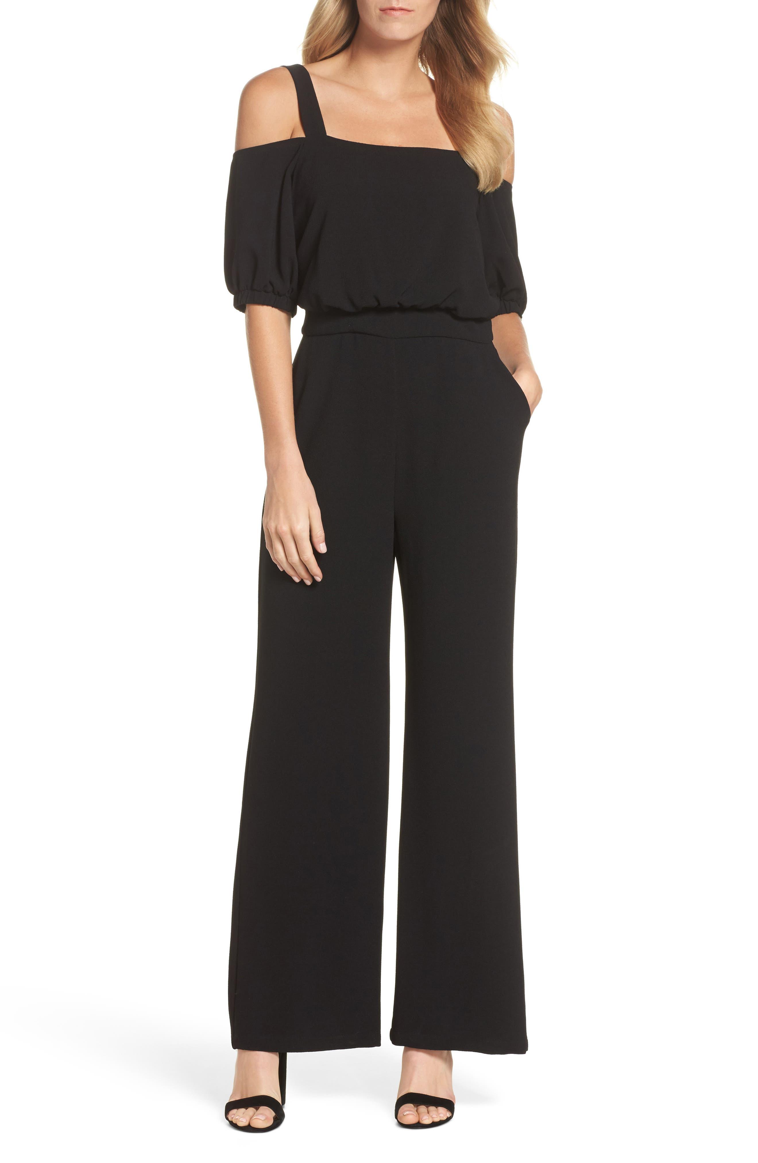 Cold Shoulder Blouson Jumpsuit,                         Main,                         color, Black