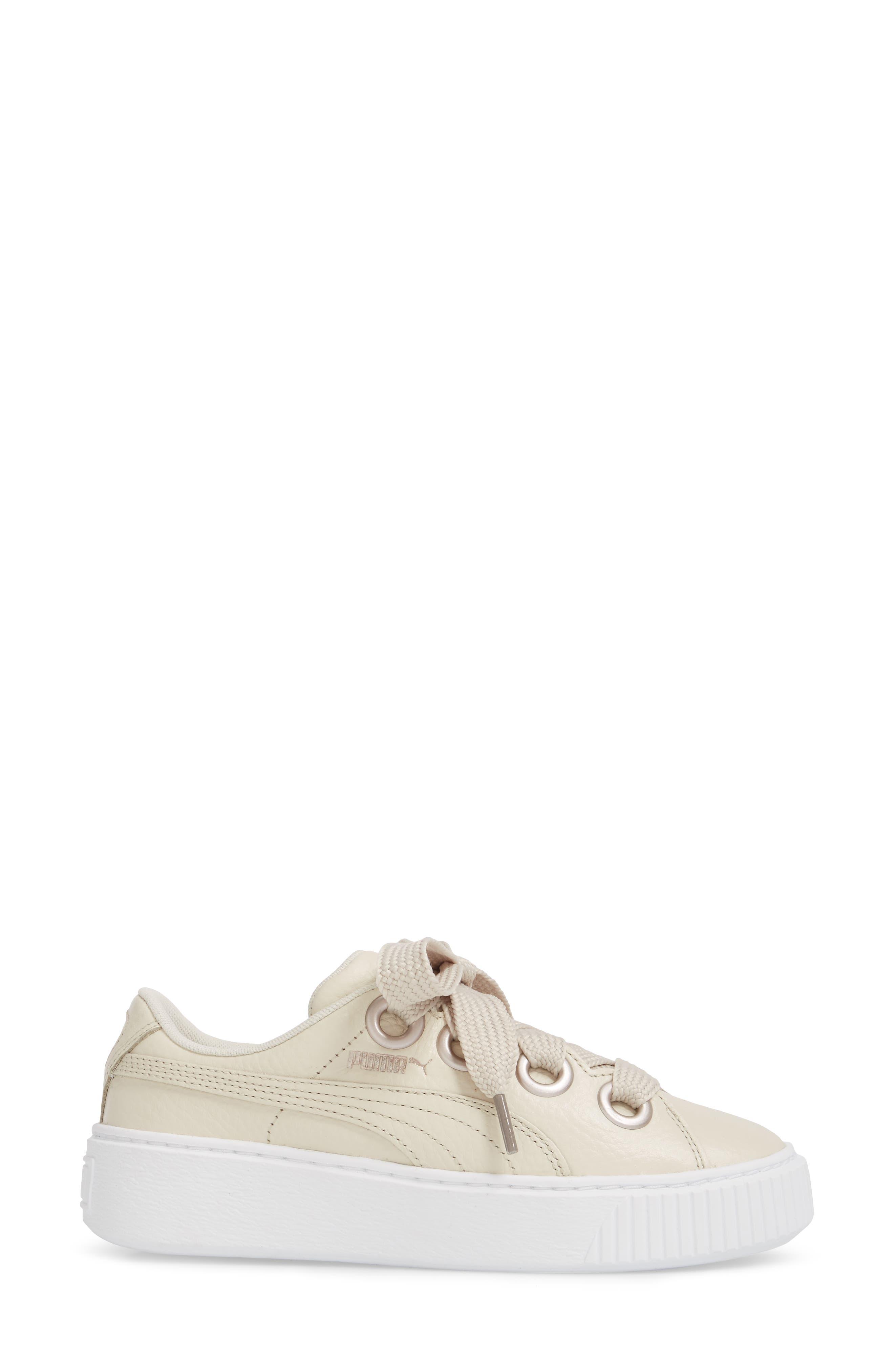 Platform Kiss Sneaker,                             Alternate thumbnail 3, color,                             Ivory