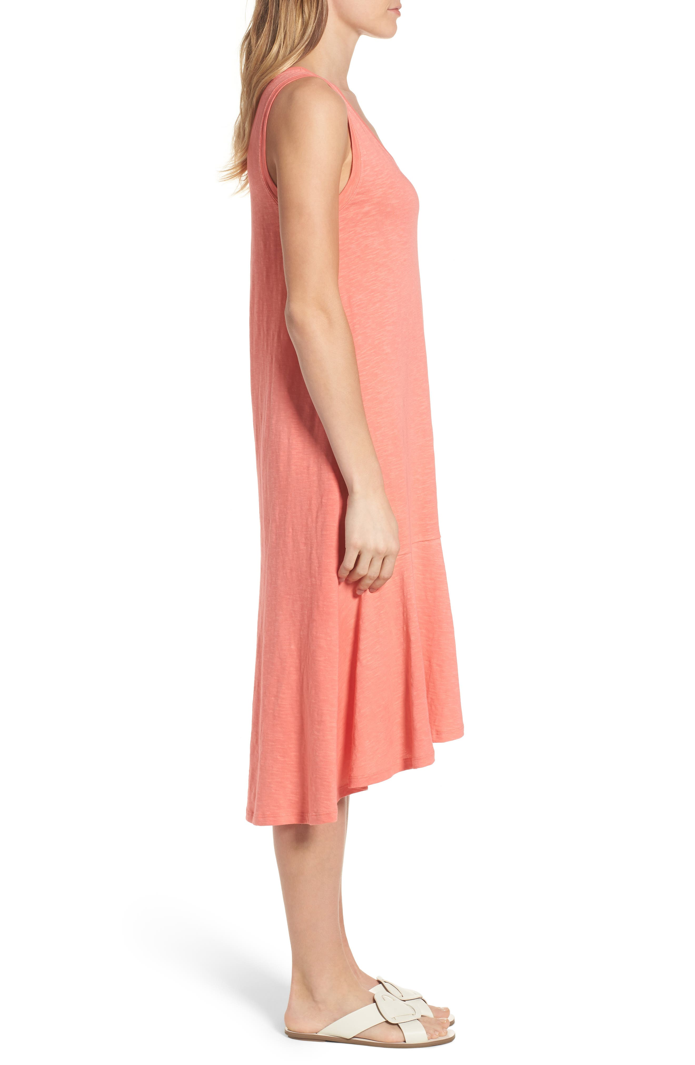 Drop Waist Jersey Dress,                             Alternate thumbnail 3, color,                             Coral Rose