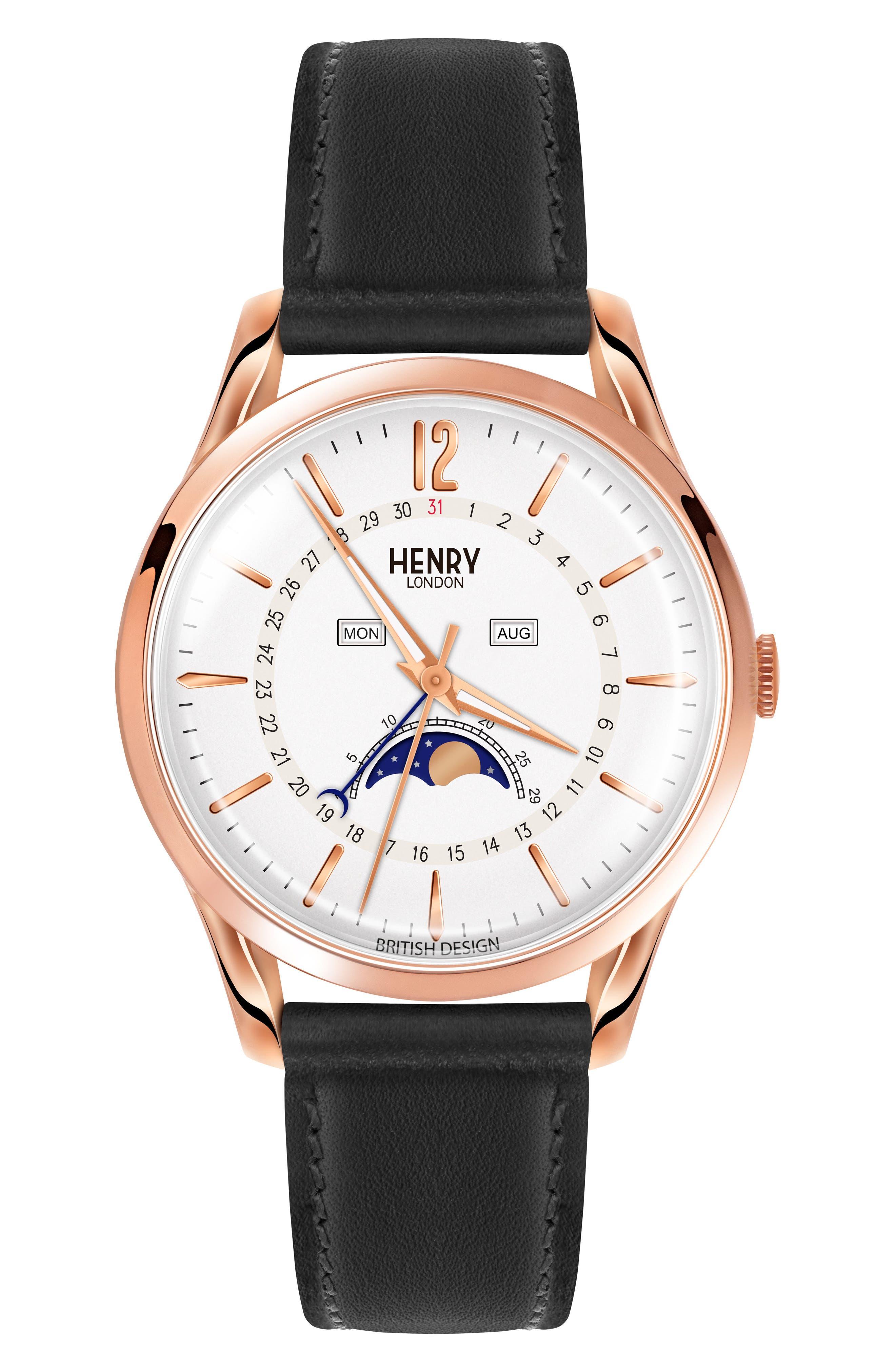 Henry London Richmond Leather Strap Watch, 39mm