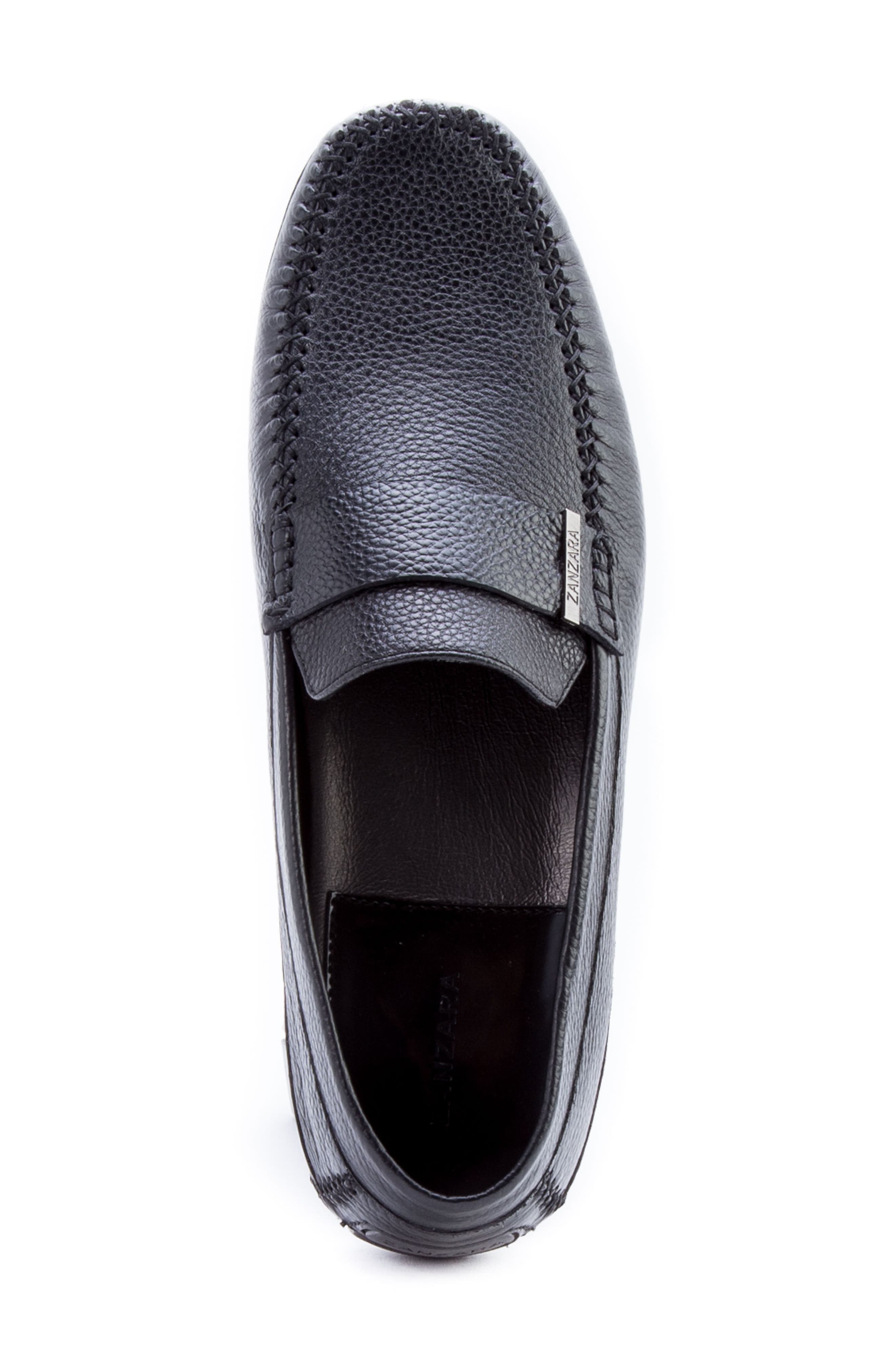 Kandinsky Moc Toe Driving Loafer,                             Alternate thumbnail 5, color,                             Black Leather