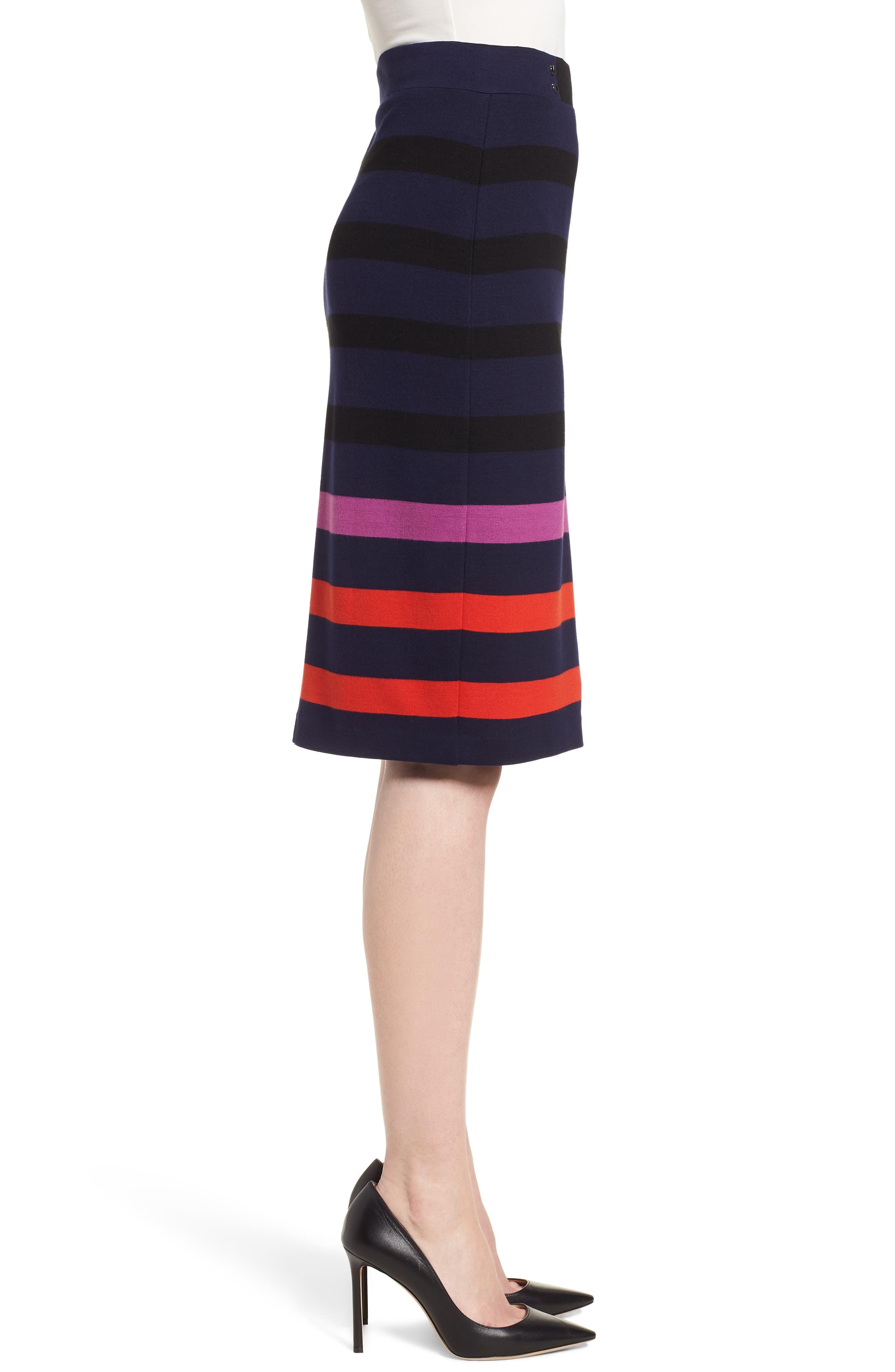 Ebienne Stripe Pencil Skirt,                             Alternate thumbnail 3, color,                             Nautical Blue Fantasy