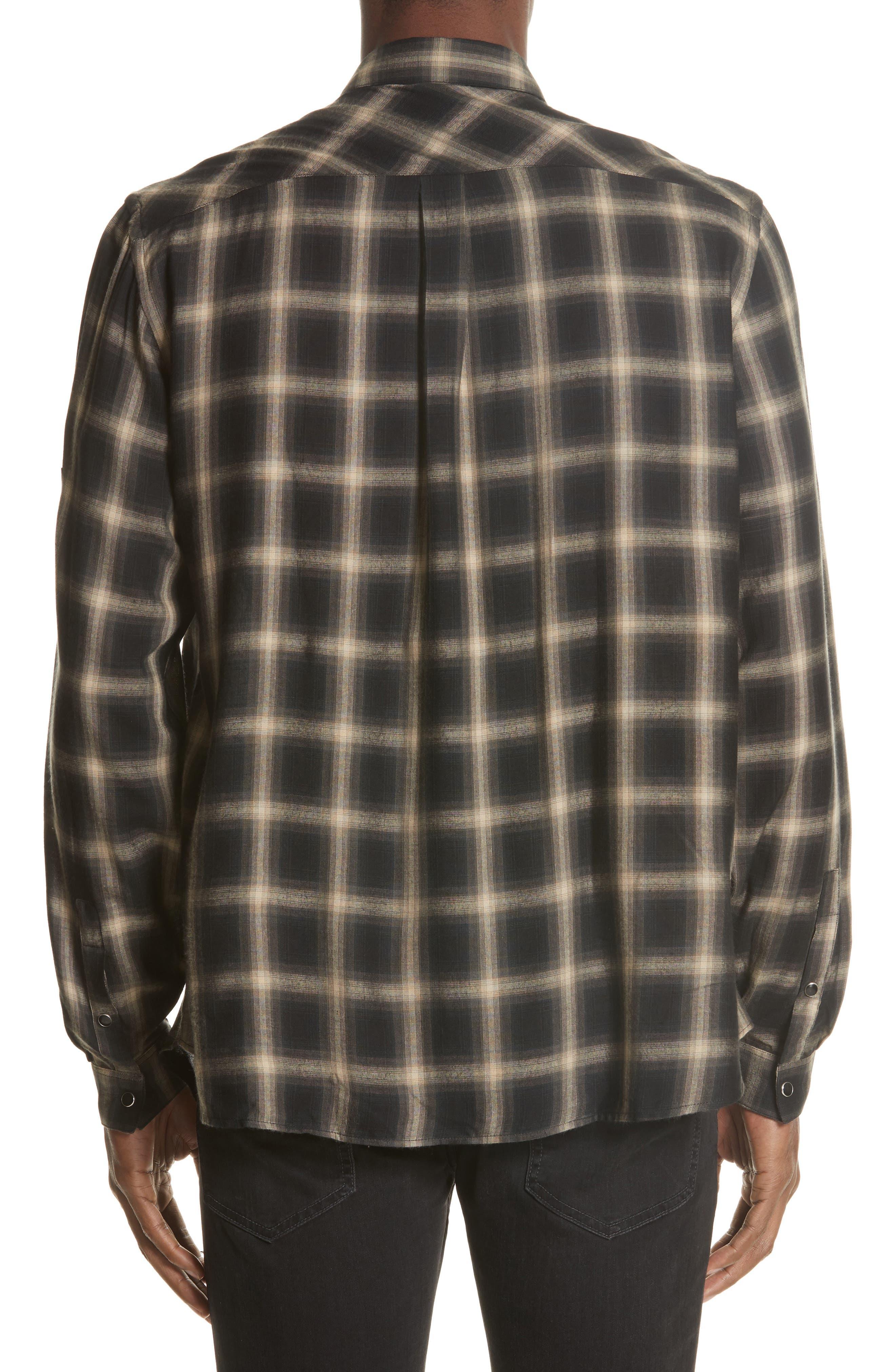 Check Woven Shirt,                             Alternate thumbnail 2, color,                             Grey