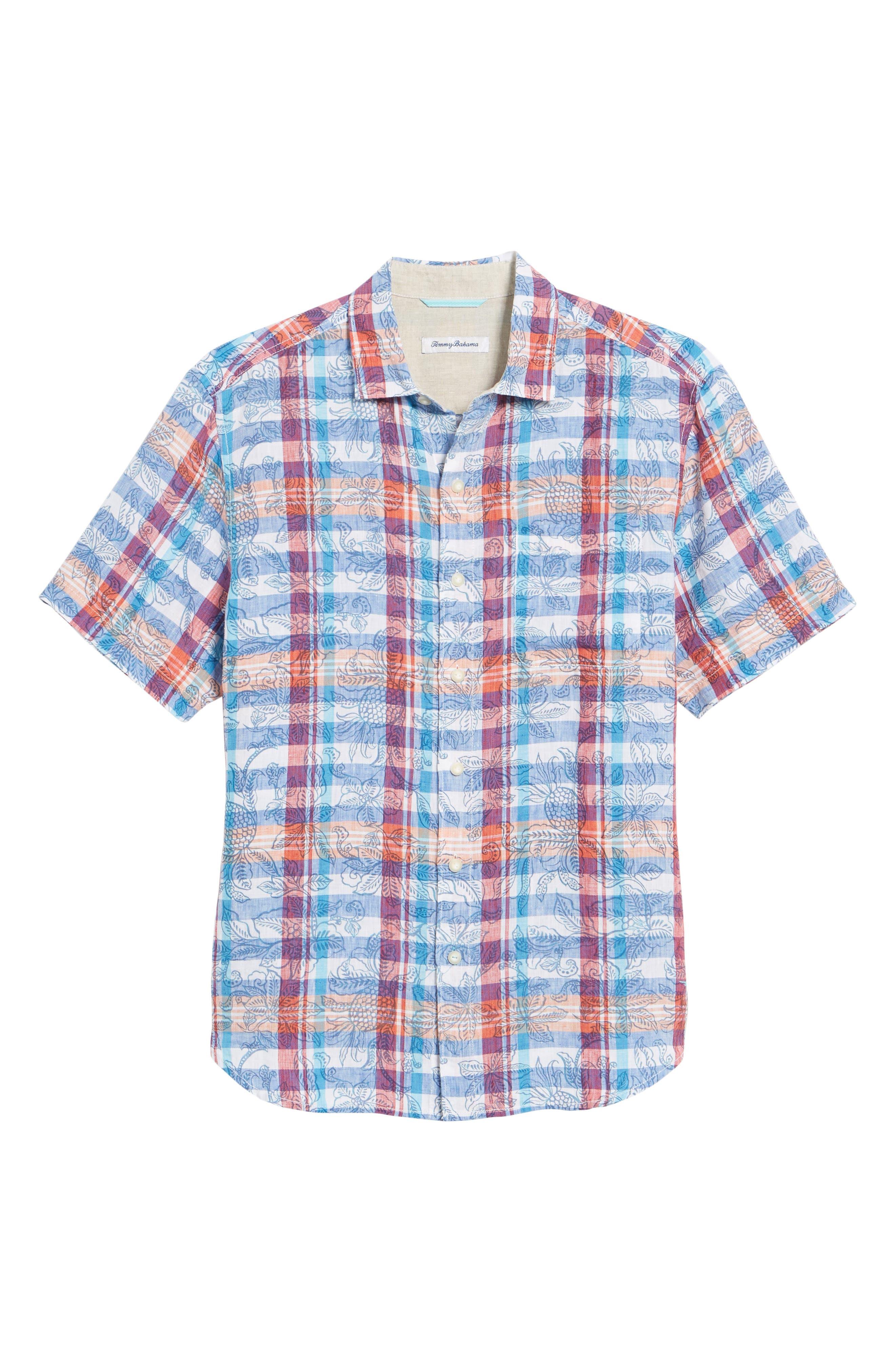 Tropico Madras Linen Sport Shirt,                             Alternate thumbnail 6, color,                             Cobalt Sea