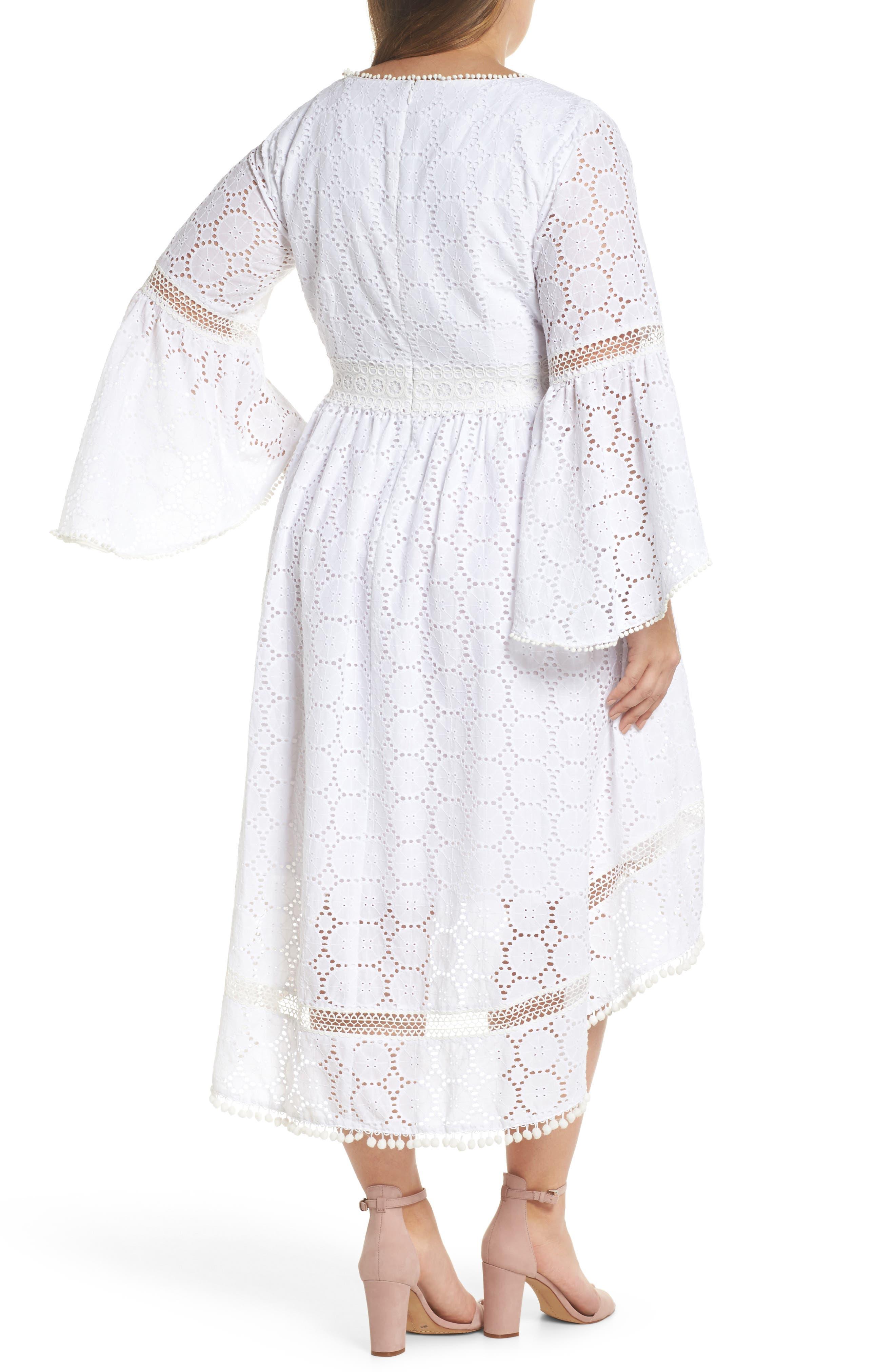 Bell Sleeve High/Low Eyelet Dress,                             Alternate thumbnail 2, color,                             Ivory
