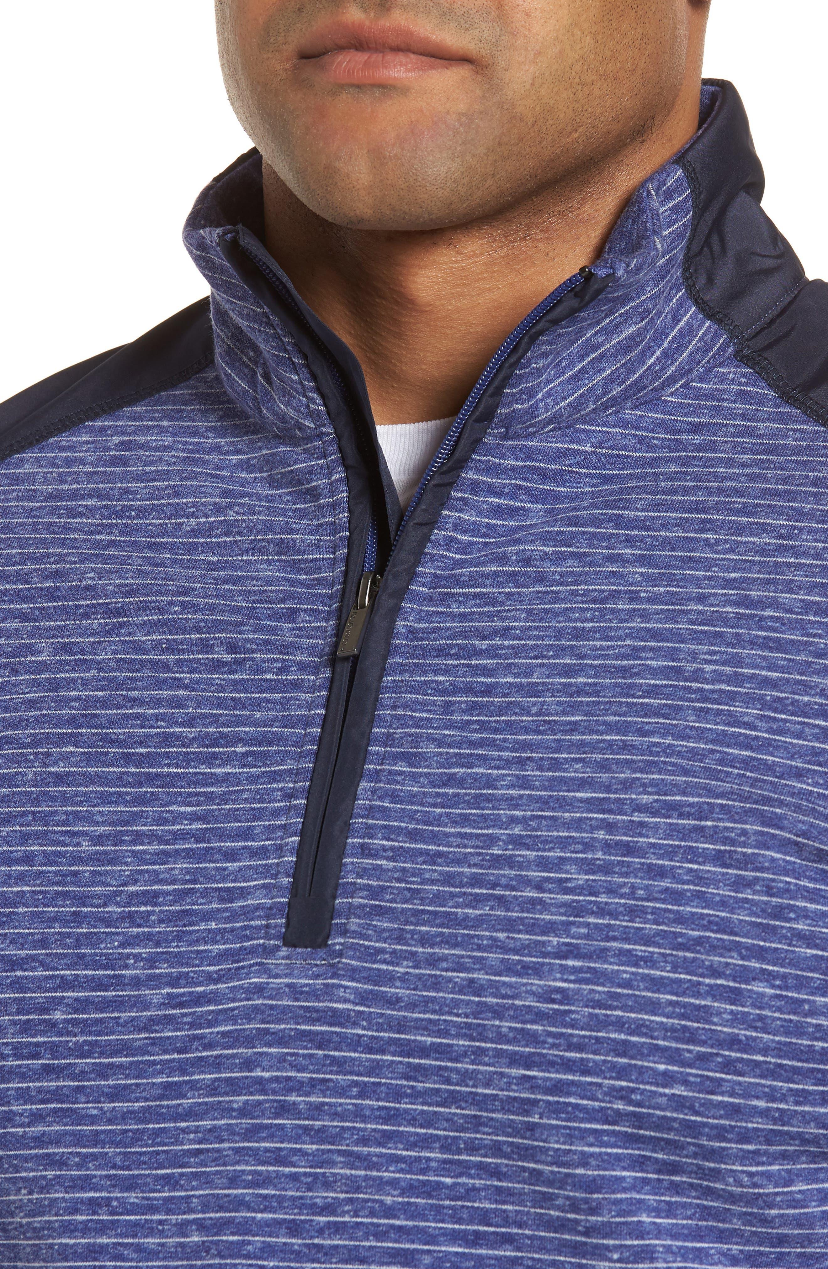 Regular Fit Stripe Quarter Zip Pullover,                             Alternate thumbnail 4, color,                             Night Blue