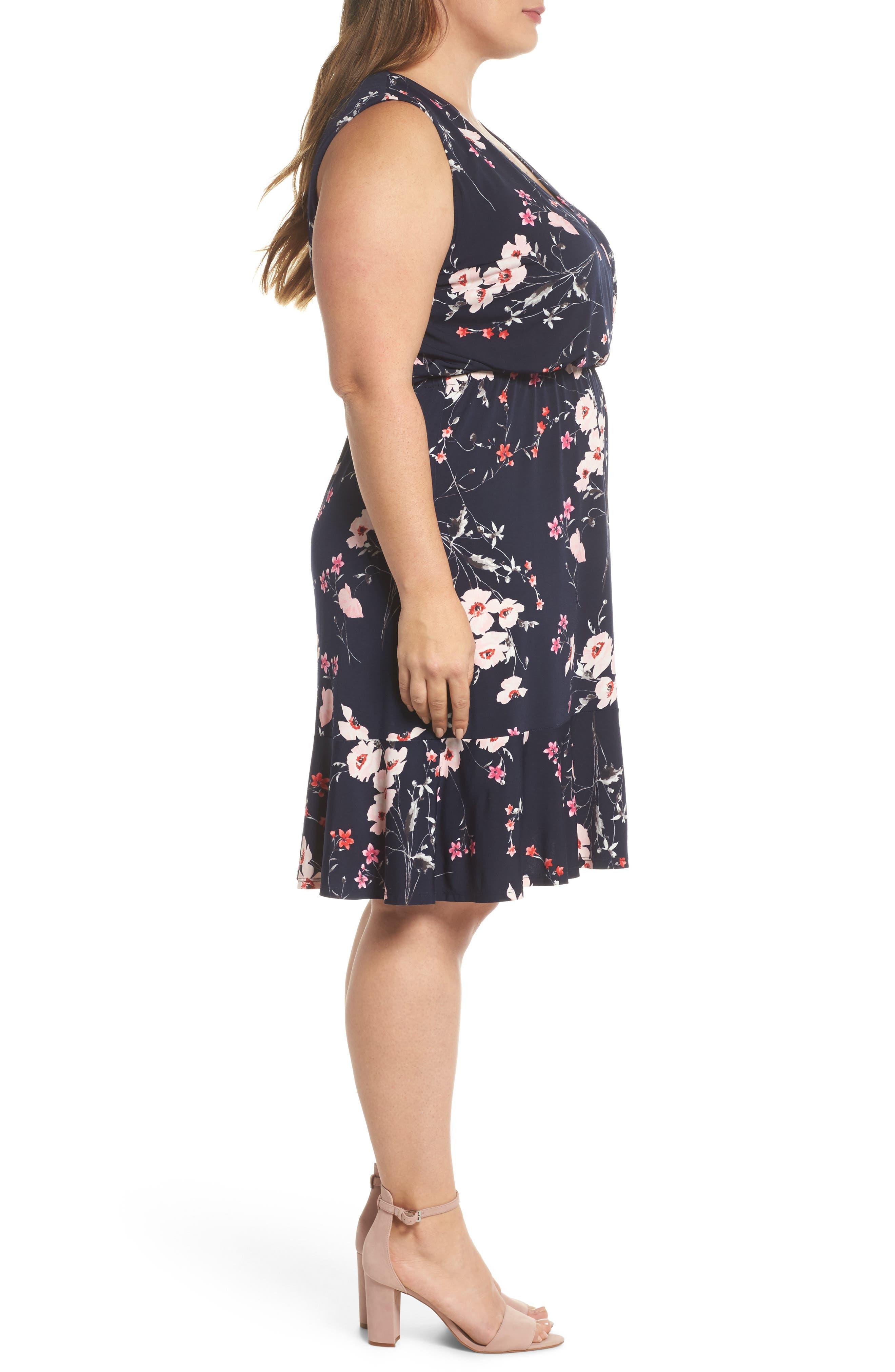 Floral Print Surplice Dress,                             Alternate thumbnail 3, color,                             Navy/ Pink