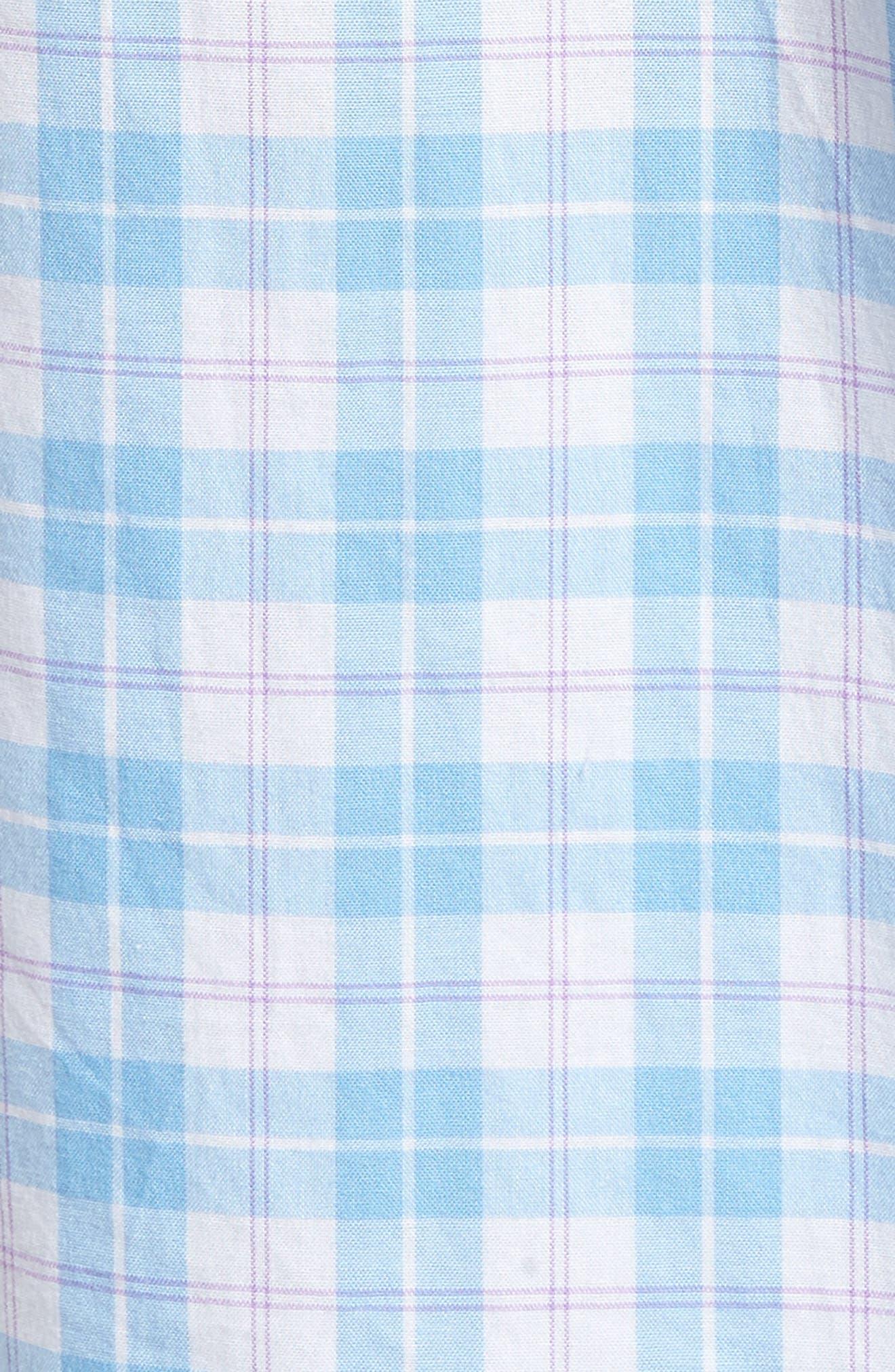 Shallow Sea Slim Fit Plaid Sport Shirt,                             Alternate thumbnail 5, color,                             Ocean Breeze